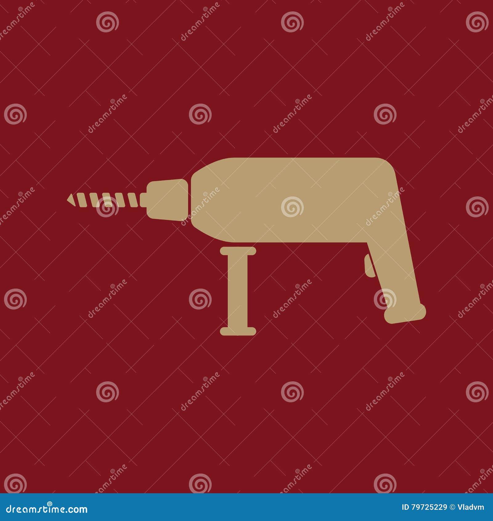 El icono del taladro Símbolo del perforador plano