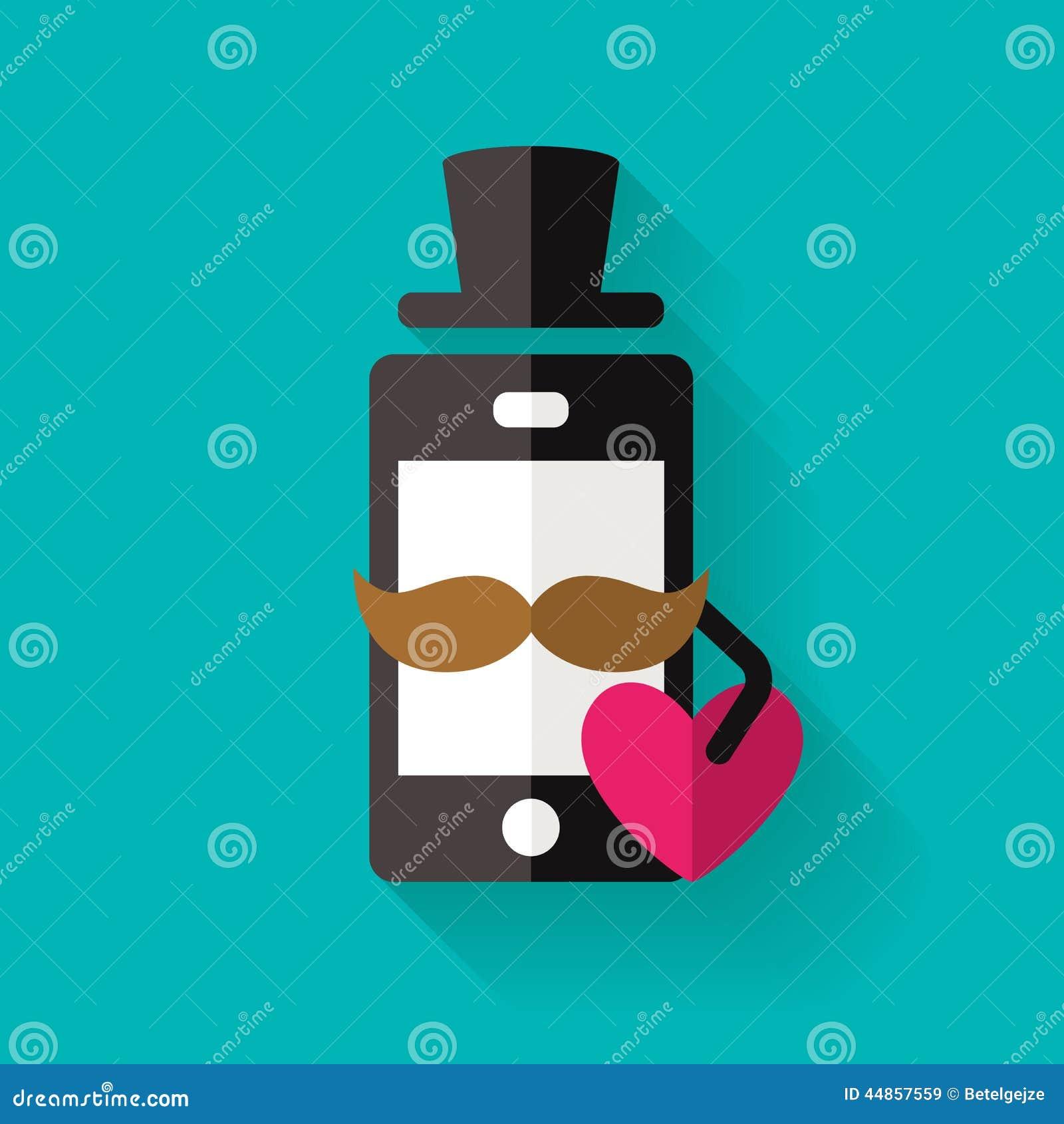 El icono del teléfono móvil del inconformista con el bigote y el corazón, vector s plano