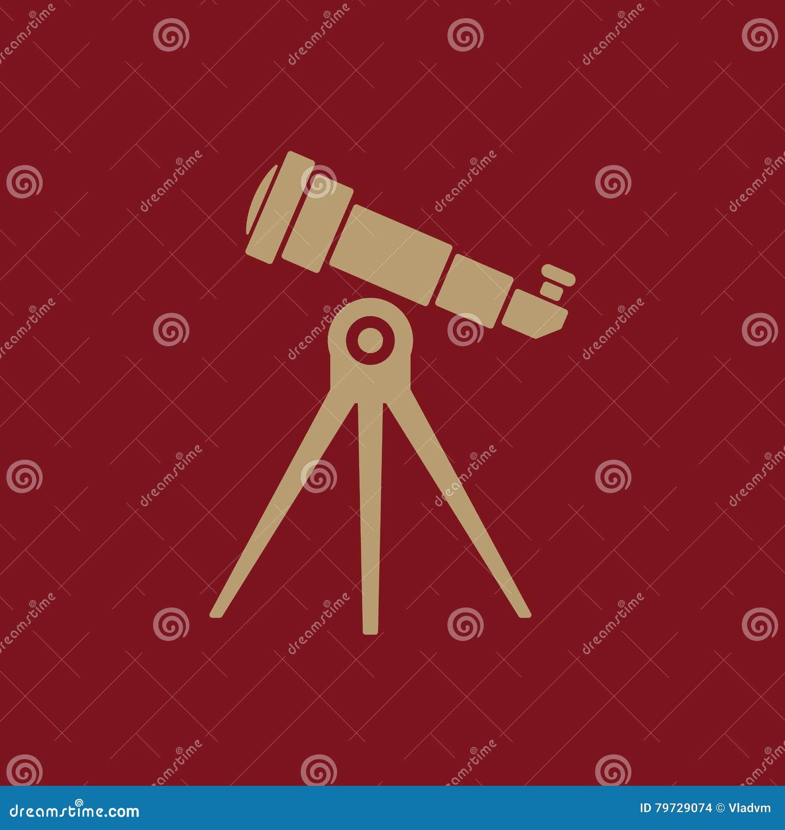 El icono del telescopio Símbolo del catalejo plano