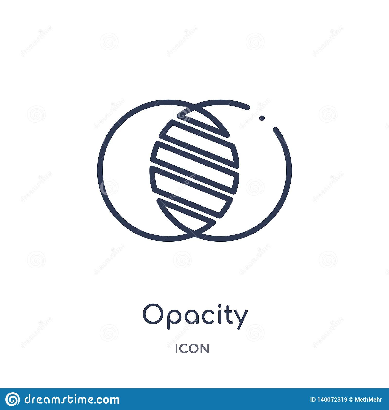 El icono linear de la opacidad de corrige la colección del esquema de las herramientas Línea fina icono de la opacidad aislado en