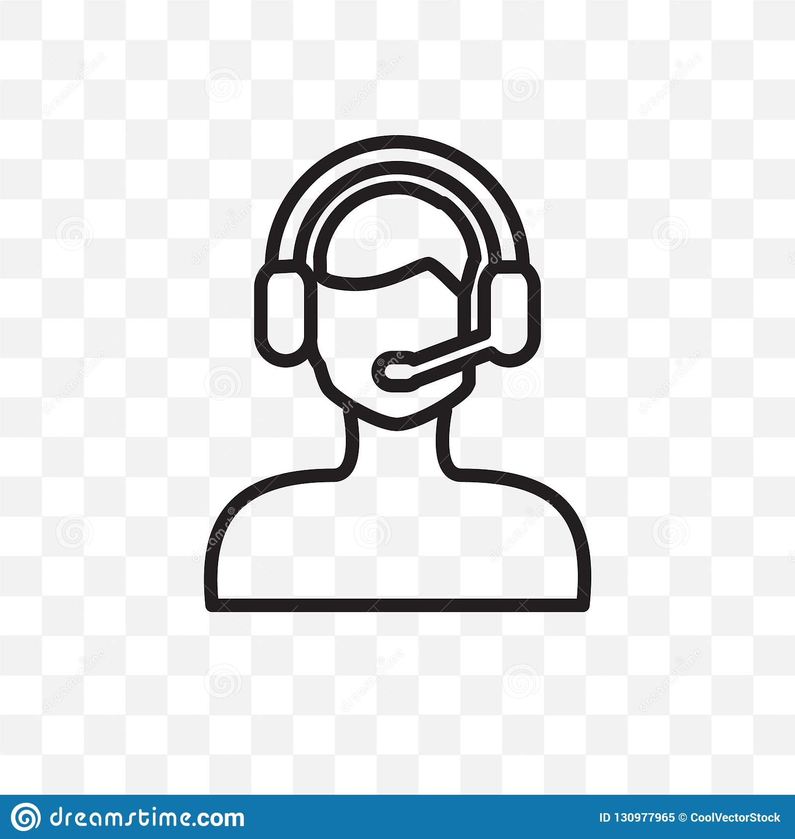 El icono linear del vector del trabajador de la ayuda del cliente aislado en el fondo transparente, concepto de la transparencia