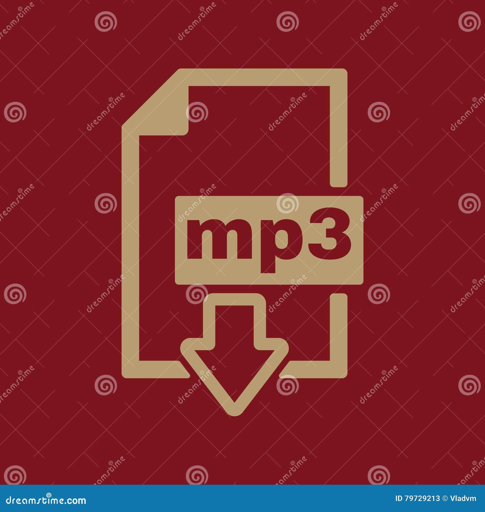 El icono mp3 Símbolo del formato de audio del fichero plano