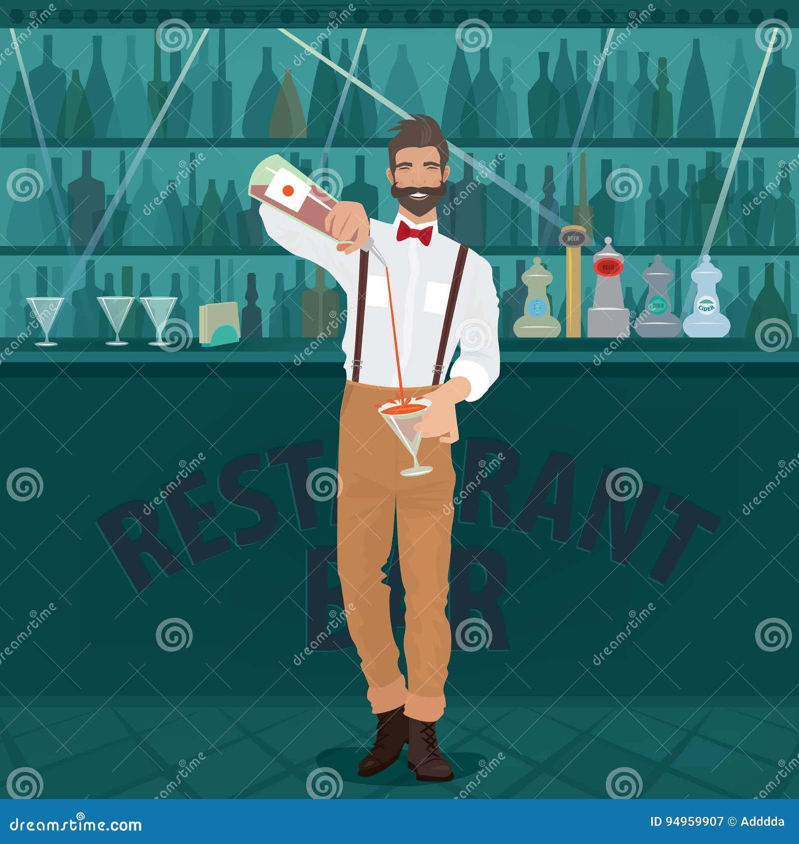 El inconformista del camarero vierte la bebida en el vidrio