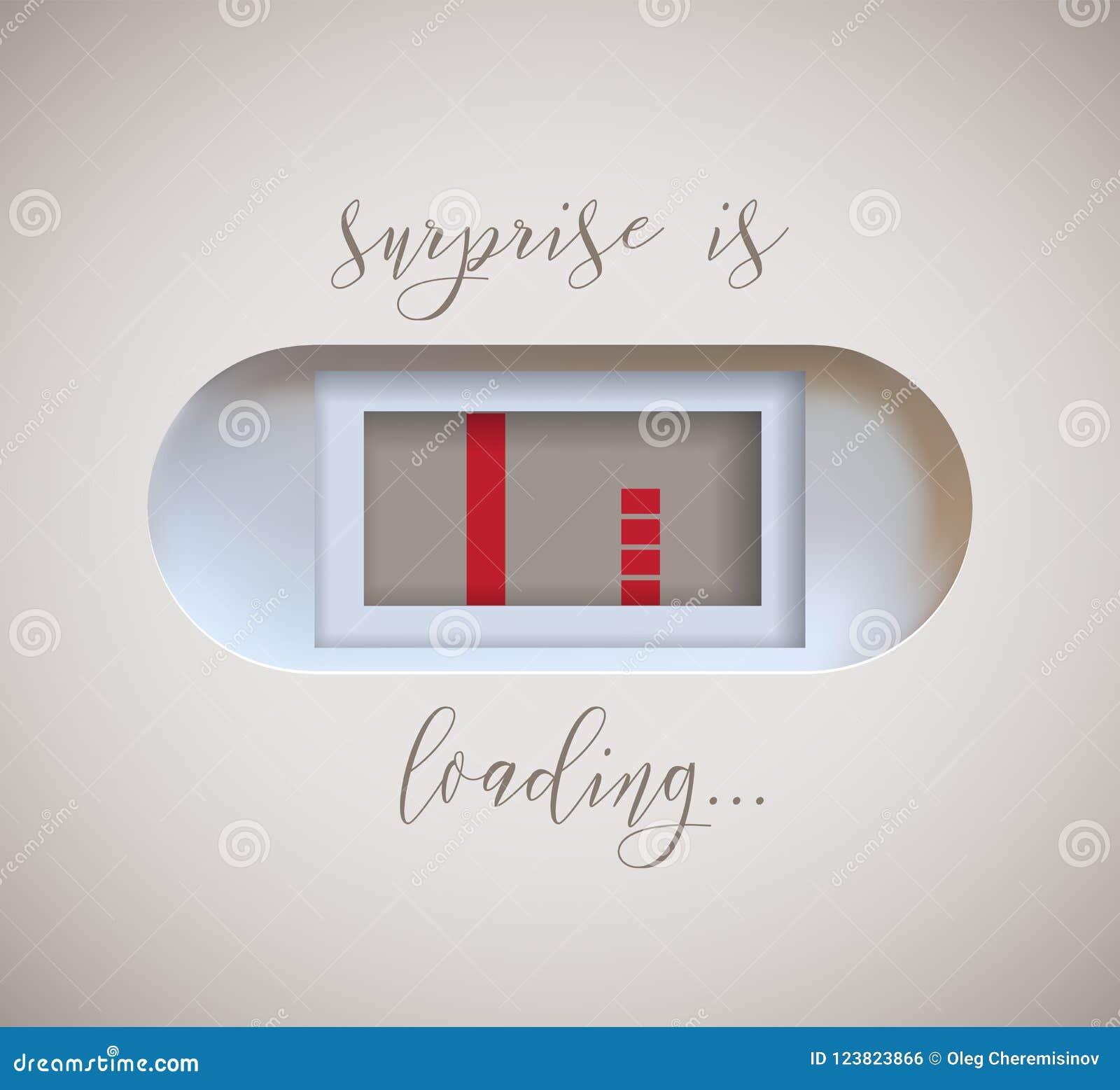 El indicador embarazada de la prueba con que aparece en segundo lugar la tira y la sorpresa está cargando el texto diseño de la i