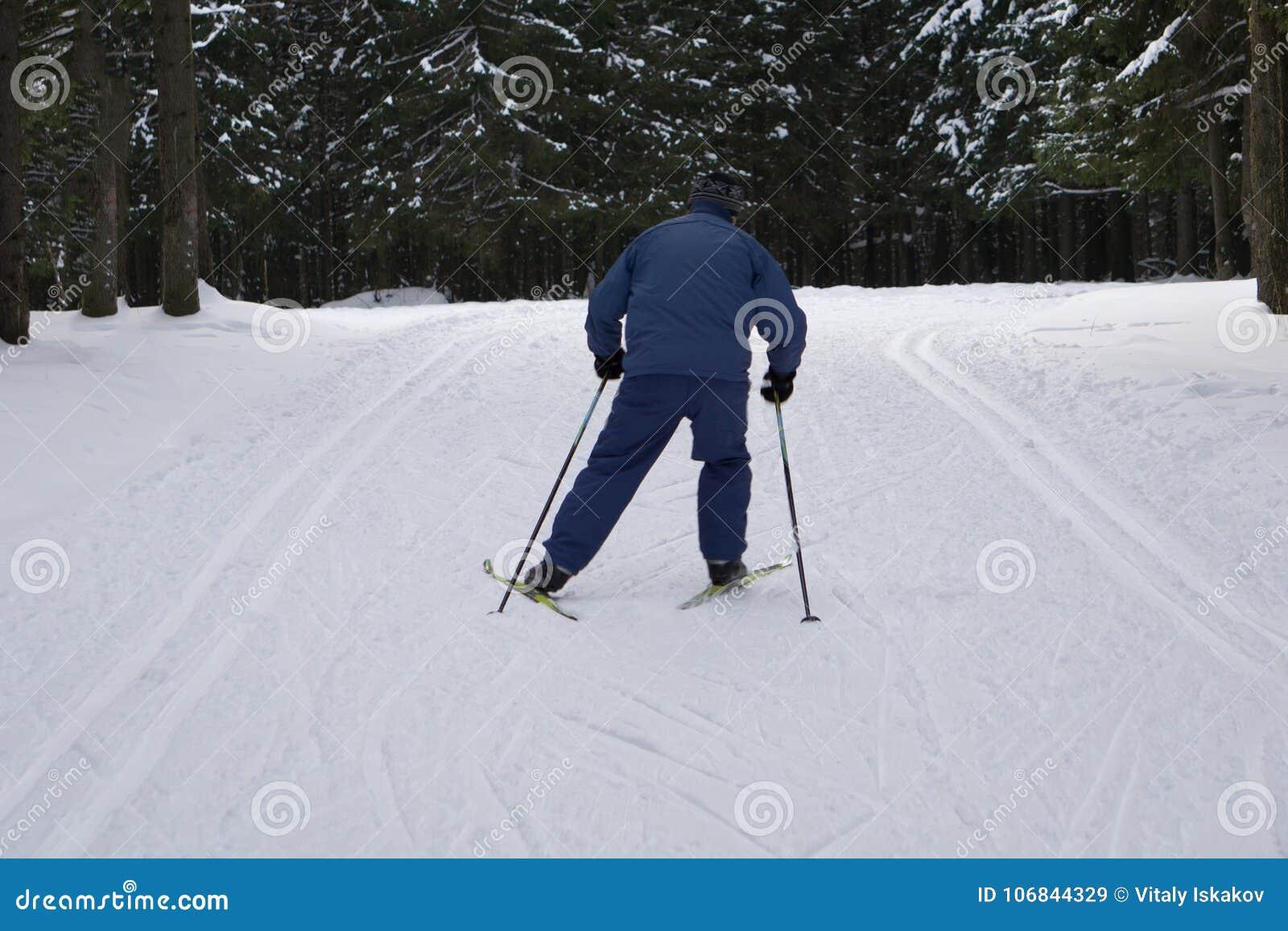 El individuo monta a la izquierda delante del paisaje pintoresco Este esquiador, él ` s que lleva una chaqueta de deportes de inv