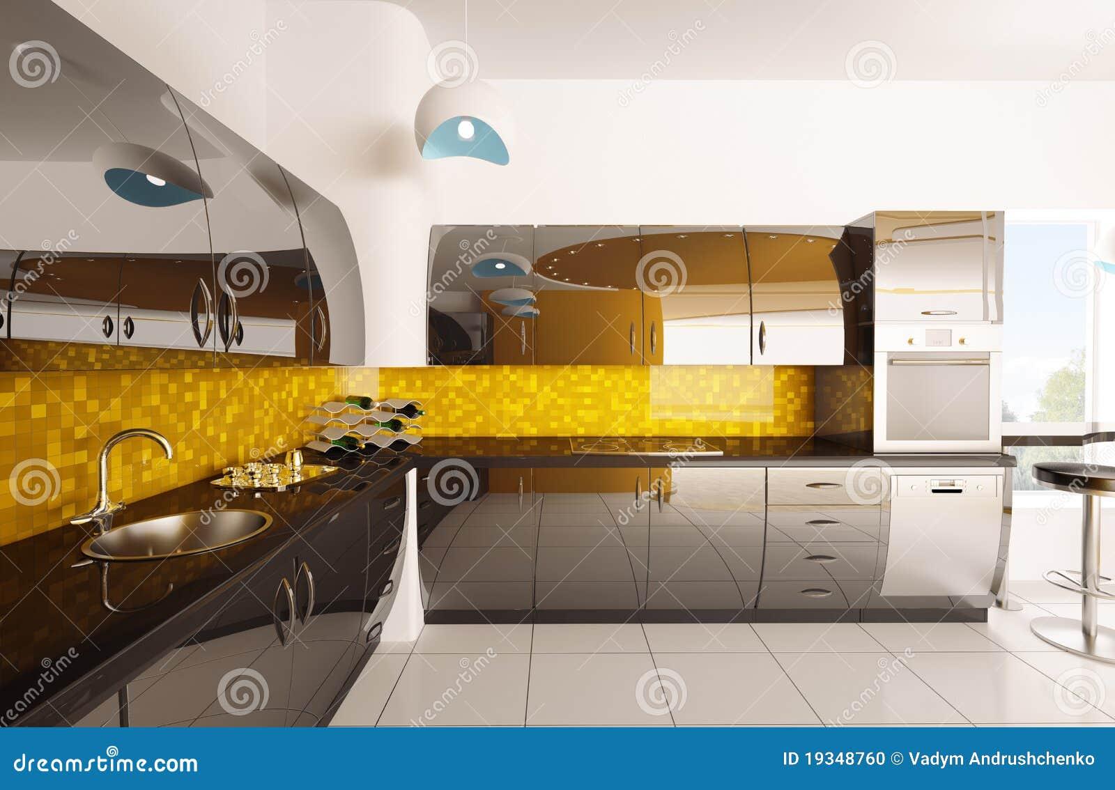 El interior de la cocina moderna 3d rinde foto de archivo for Software diseno de cocinas 3d