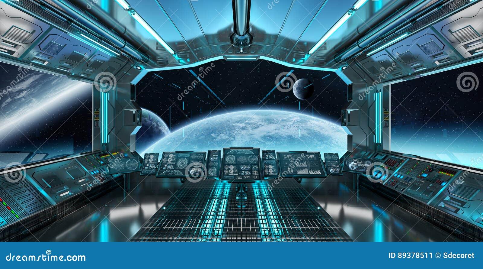Interior De Ventana De Nave Espacial: El Interior De La Nave Espacial Con La Opinión Sobre El