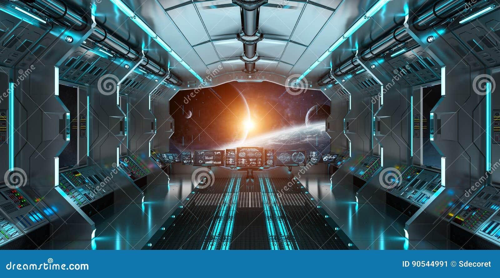 El interior de la nave espacial con la opinión sobre el sistema distante 3D de los planetas rinde