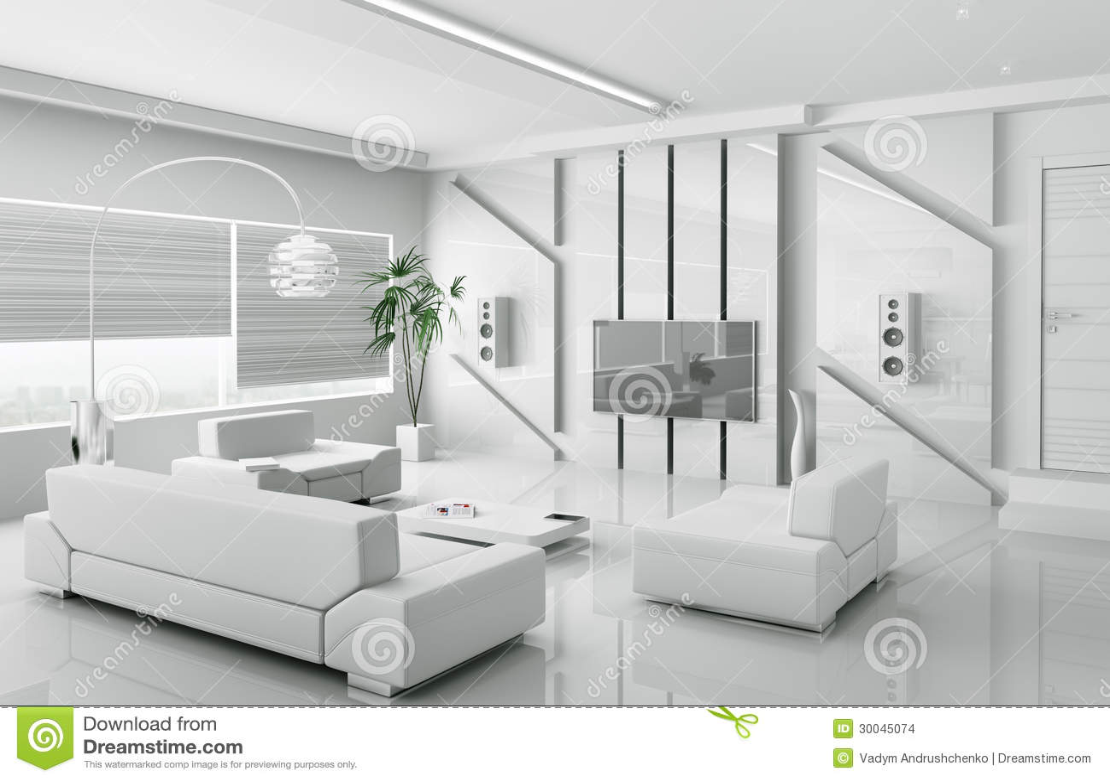 Sala De Estar Blanca Moderna 3d Interior Stock De Ilustracion Ilustracion De Sala Estar 30045074