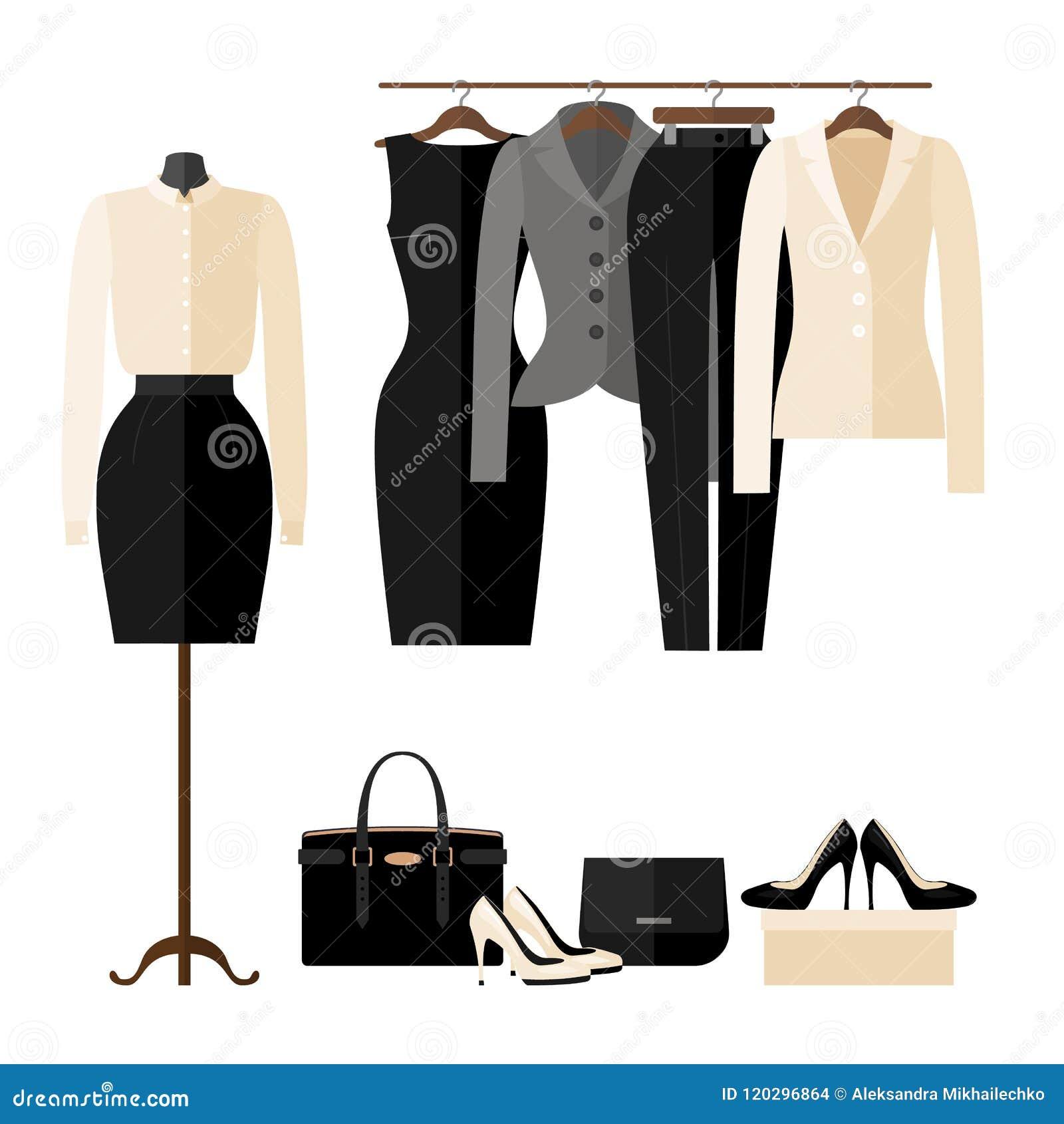 El interior de la tienda de ropa de las mujeres con negocio viste en estilo plano