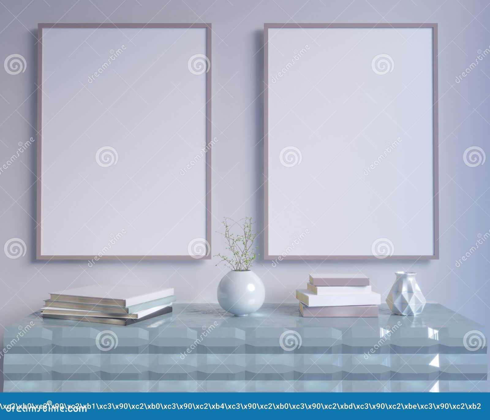 El interior del concepto, imita encima del cartel en la pared, ejemplo 3d rinde, representación, retra, sitio, escandinavo