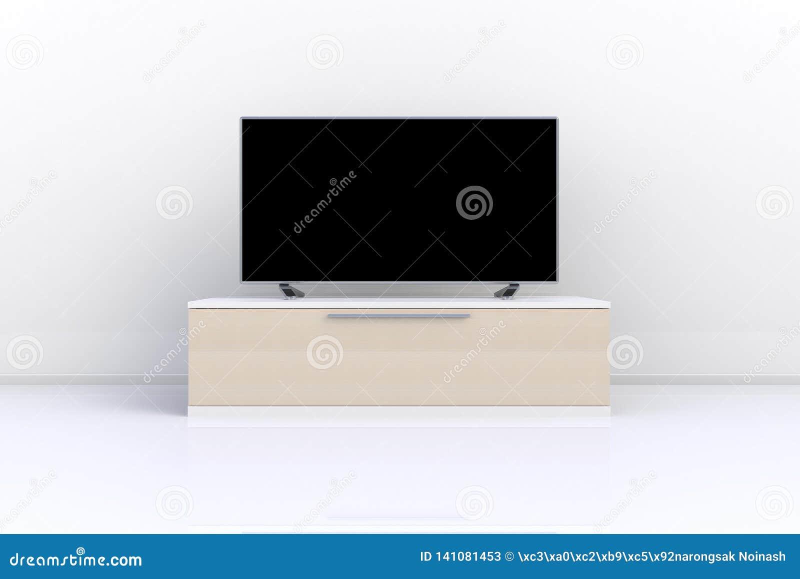 El interior del sitio vacío con TV, sala de estar llevó la TV en la pared blanca con estilo moderno del desván de la tabla de mad