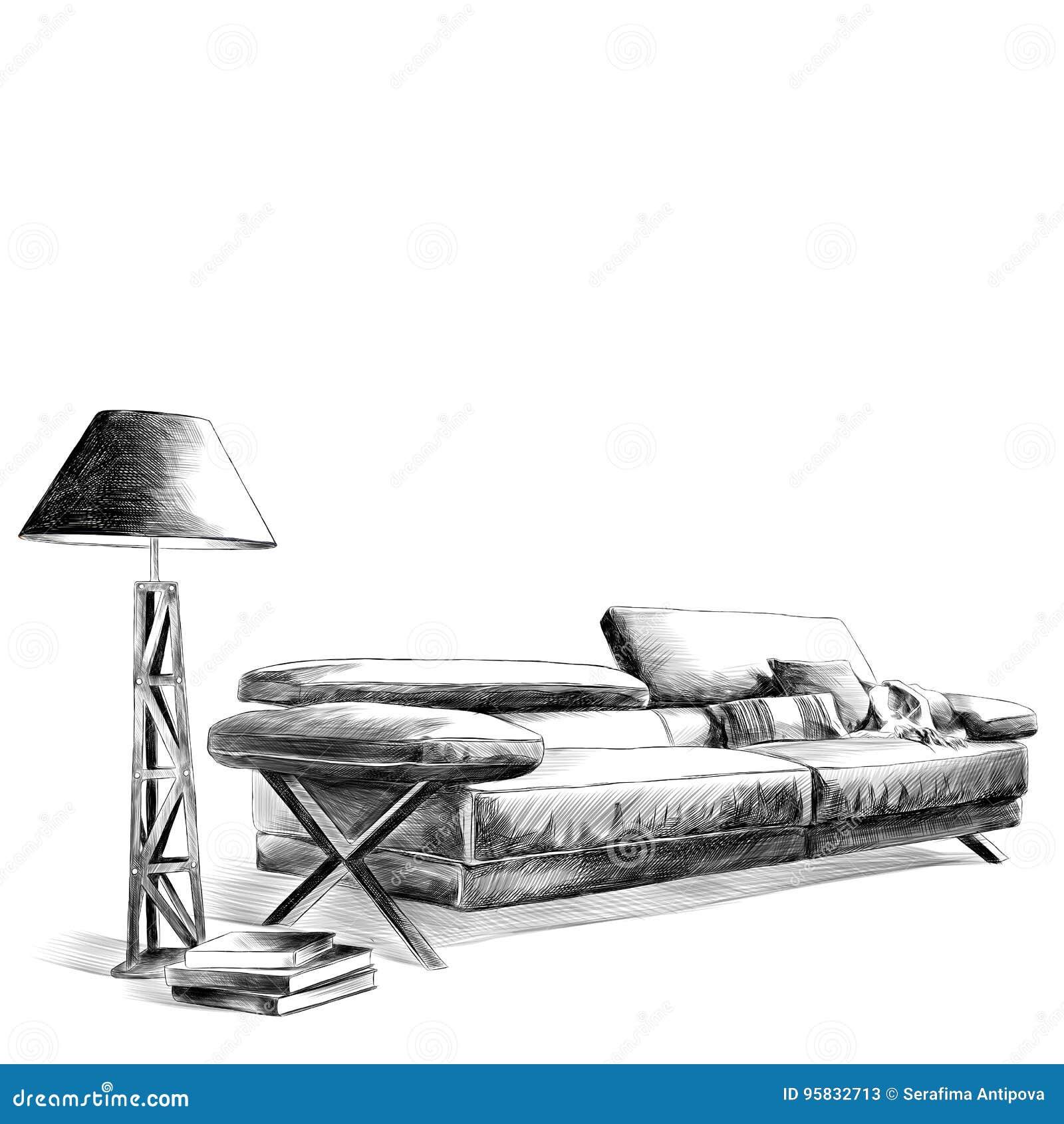 De Sofá Pie De Lado Cuero Lámpara De Al Interior Del El Una vgY7yIbf6m