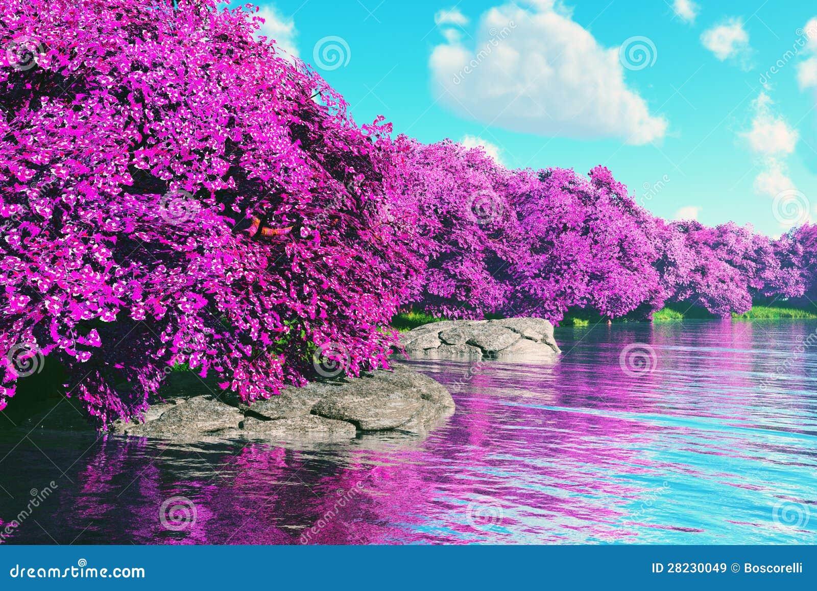El Jardín Japonés De Las Flores De Cerezo Misteriosas En El Lago 3D ...
