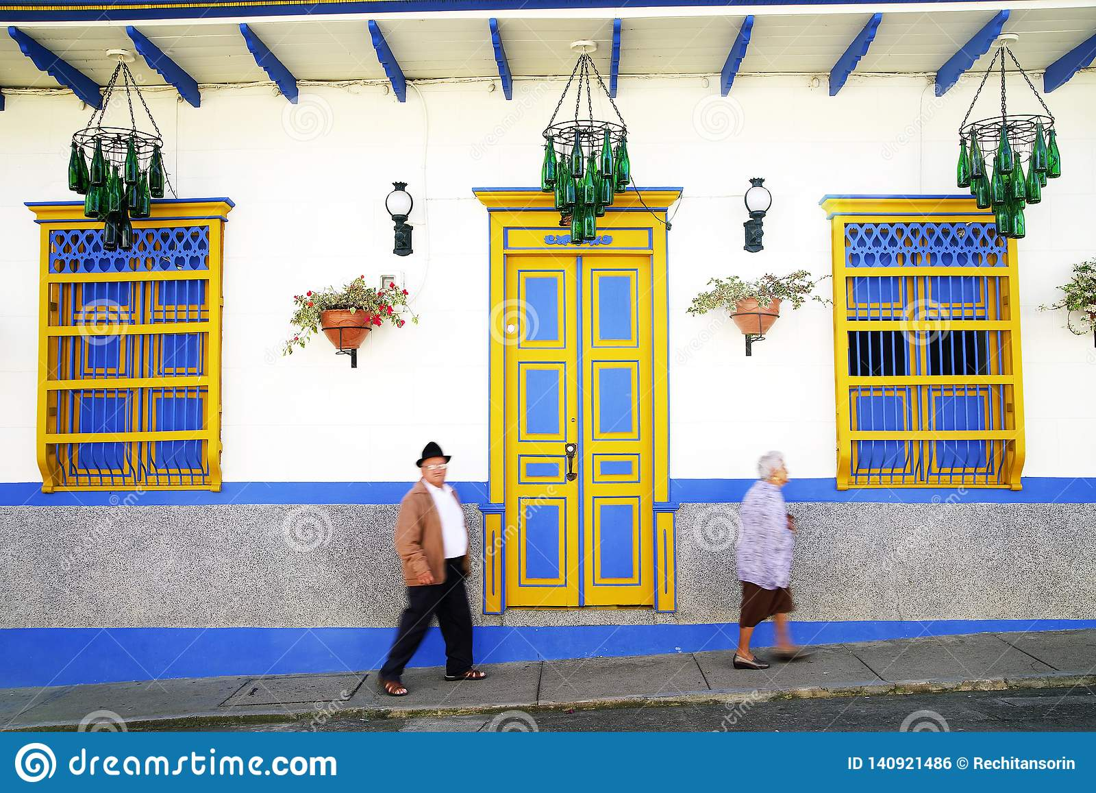 JARDIN, COLOMBIA, AUGUST 14, 2018: Traditional Architecture