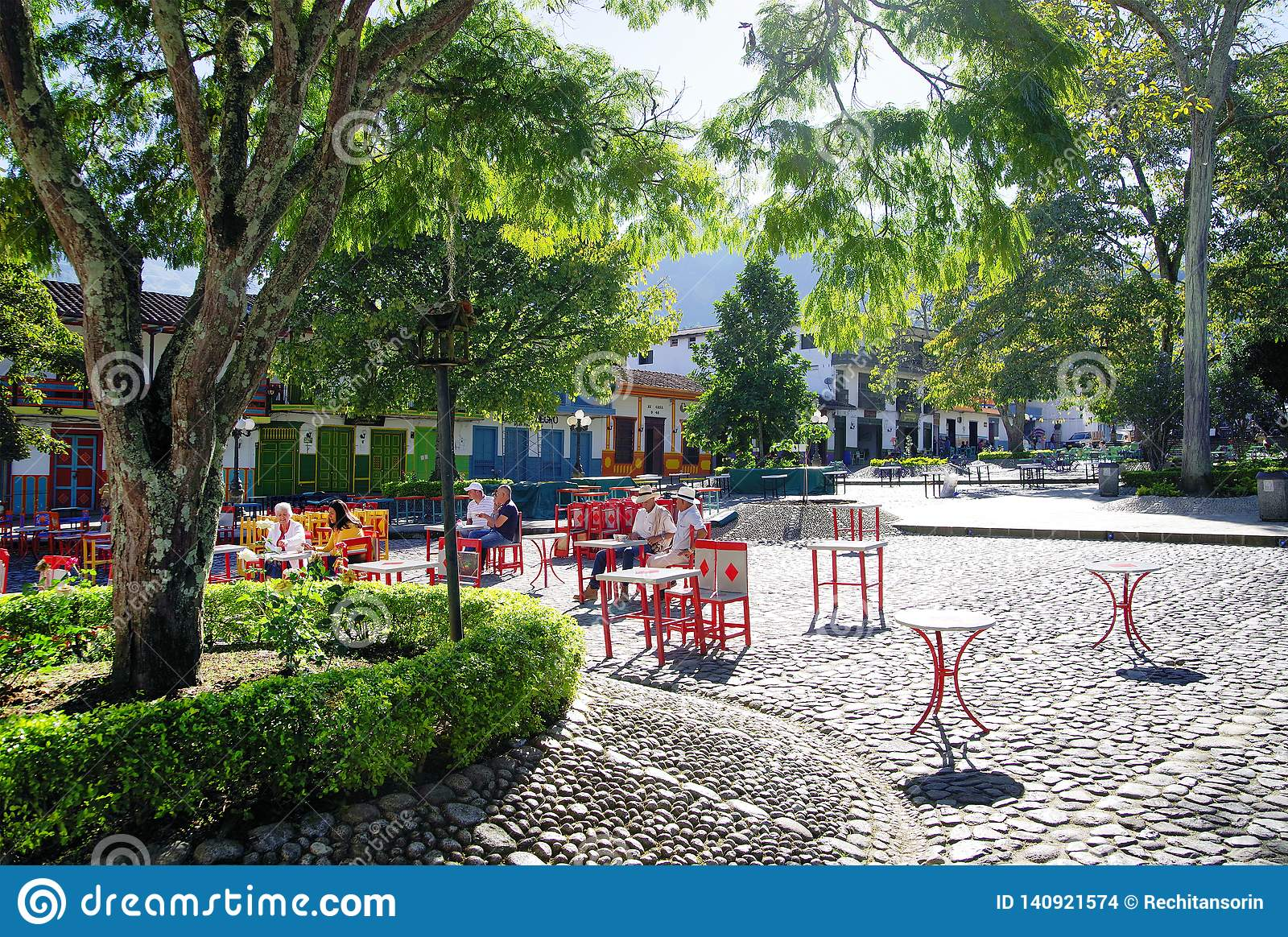 JARDIN, COLOMBIA, AUGUST 14, 2018: The Principal Park In The