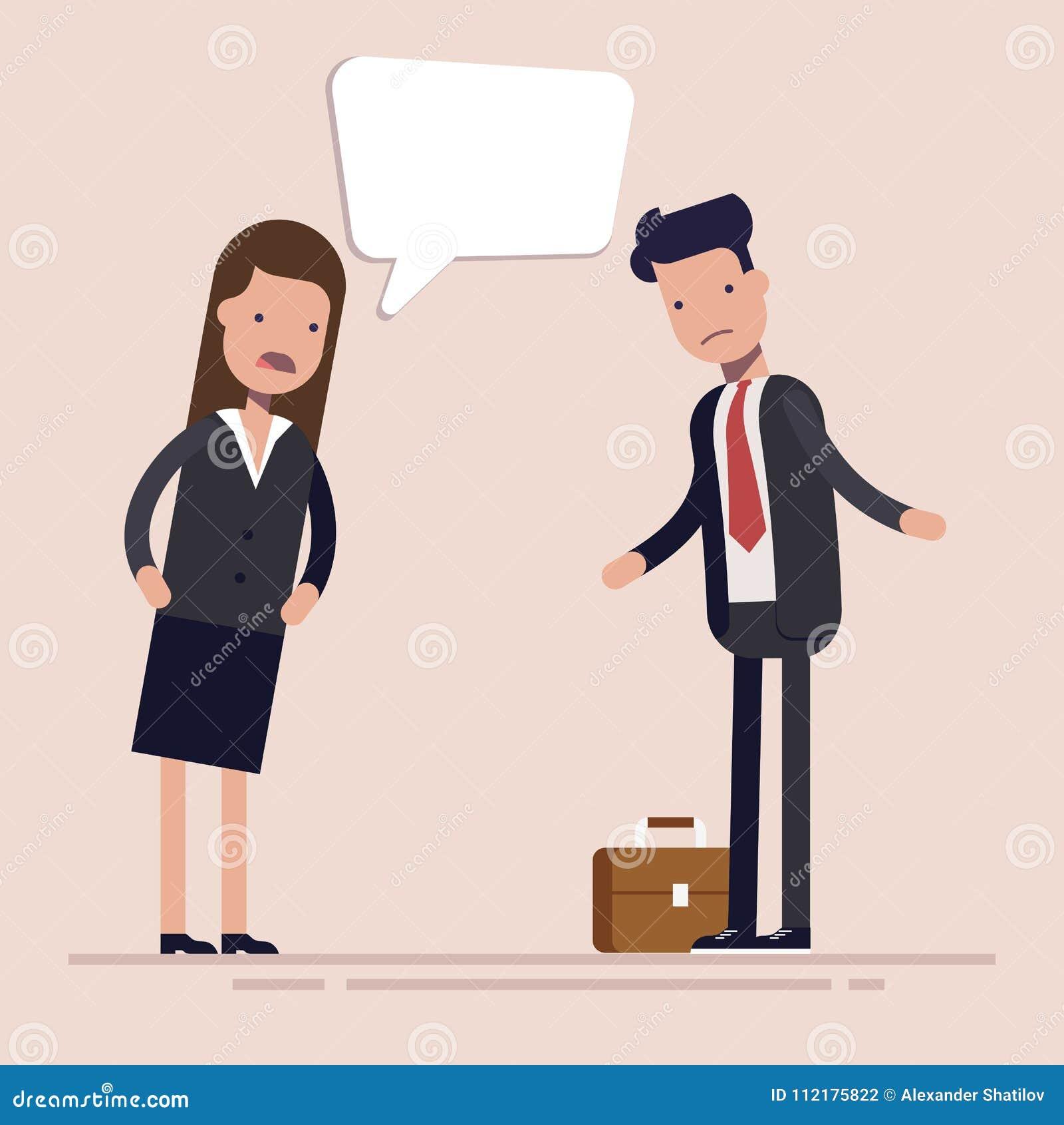 El jefe de la empresaria grita en el empleado o el encargado del hombre Discriminación de género en el lugar de trabajo Vector pl