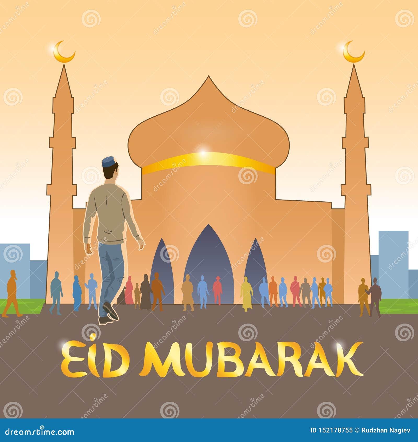 El joven vestido en musulmanes europeos de la ropa va a la mezquita a celebrar el día de fiesta musulmán