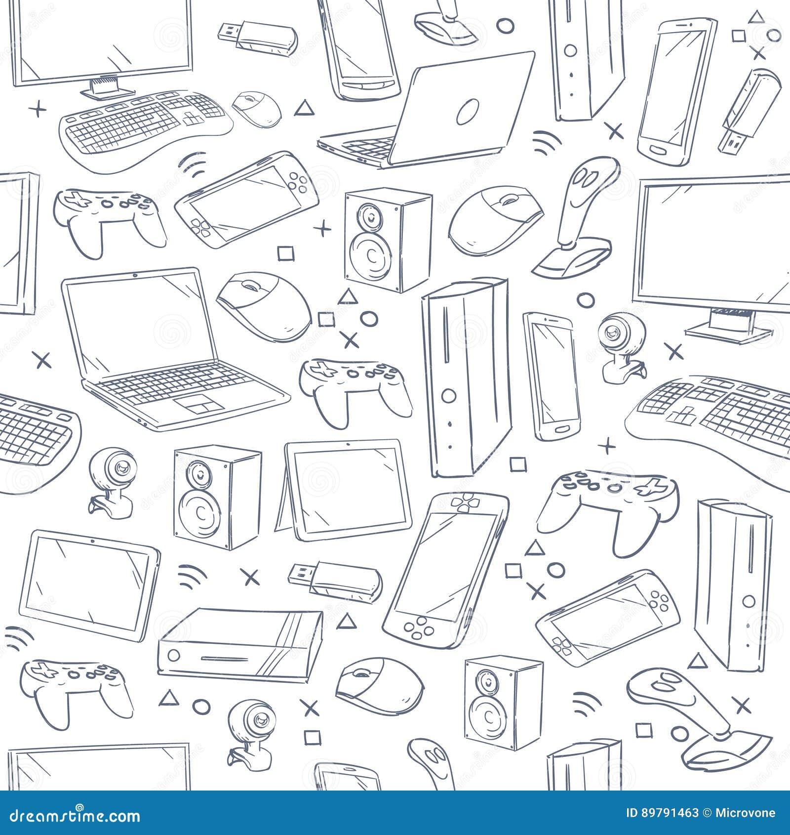 El juego de ordenador, dispositivo, bosquejo social del vector del juego garabatea el modelo inconsútil