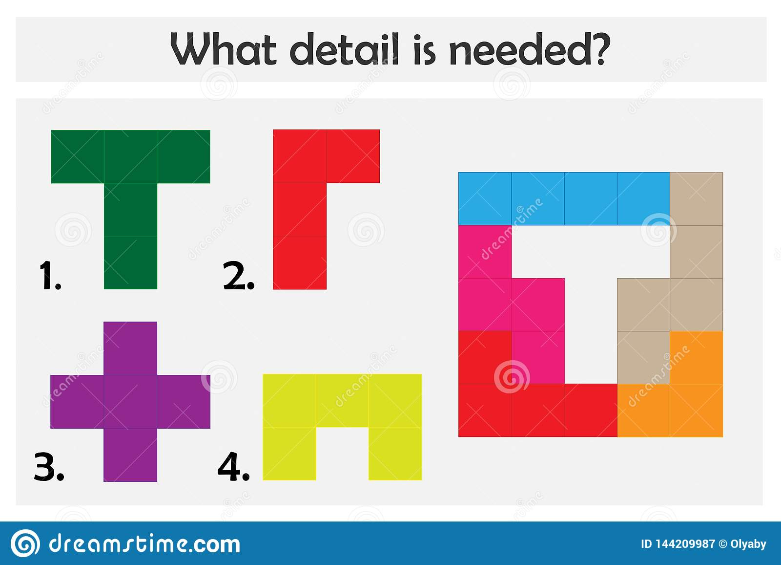 El juego del rompecabezas con los detalles coloridos para los niños, elige el detalle necesario, nivel fácil, juego para los niño