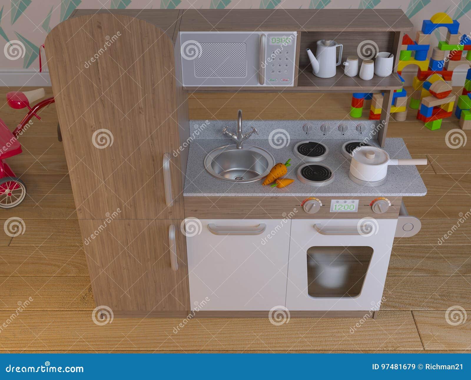 El Juego Interior Del Diseño De La Cocina De Los Niños Fijó Con Los ...