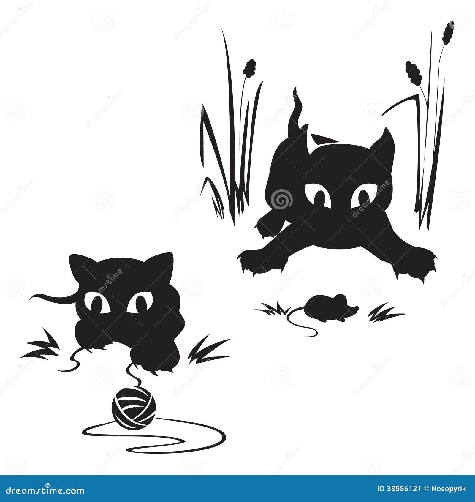 El Jugar De Los Gatos Ilustración Del Vector Ilustración De