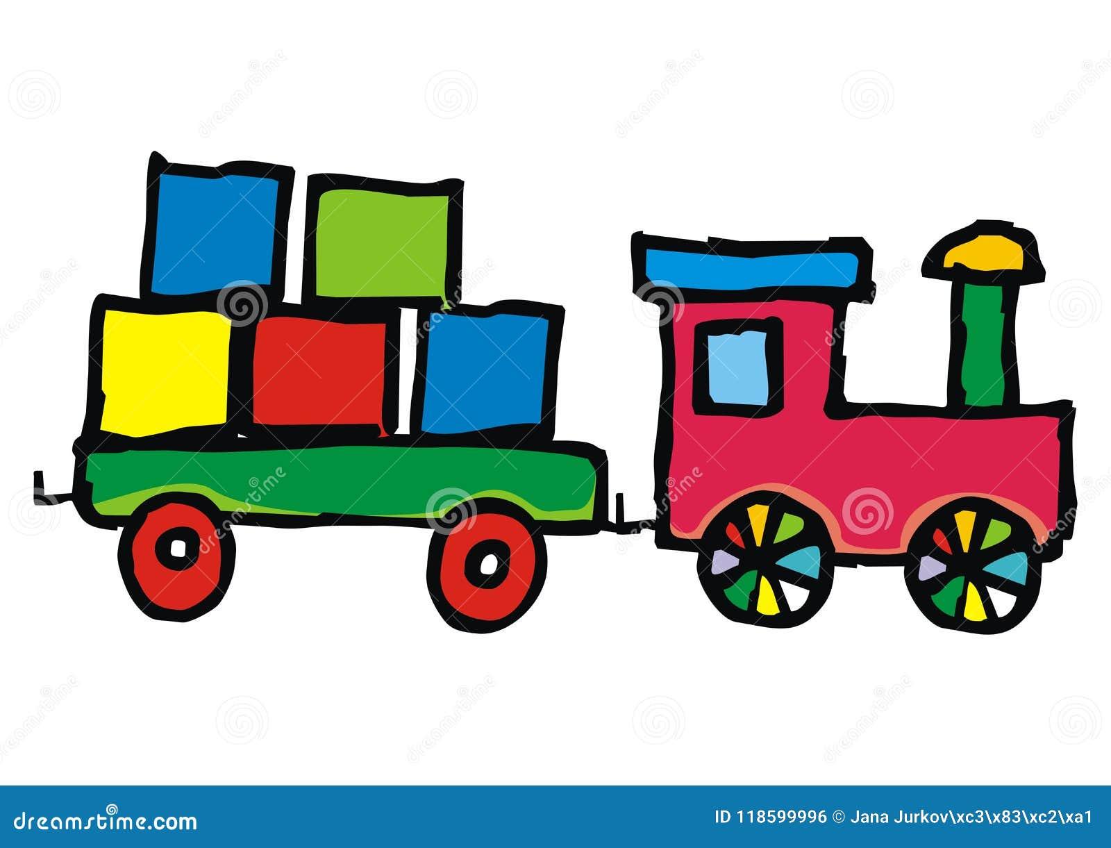 El Juguete Locomotora Carro Y Cubos Coloreo El Ejemplo Del