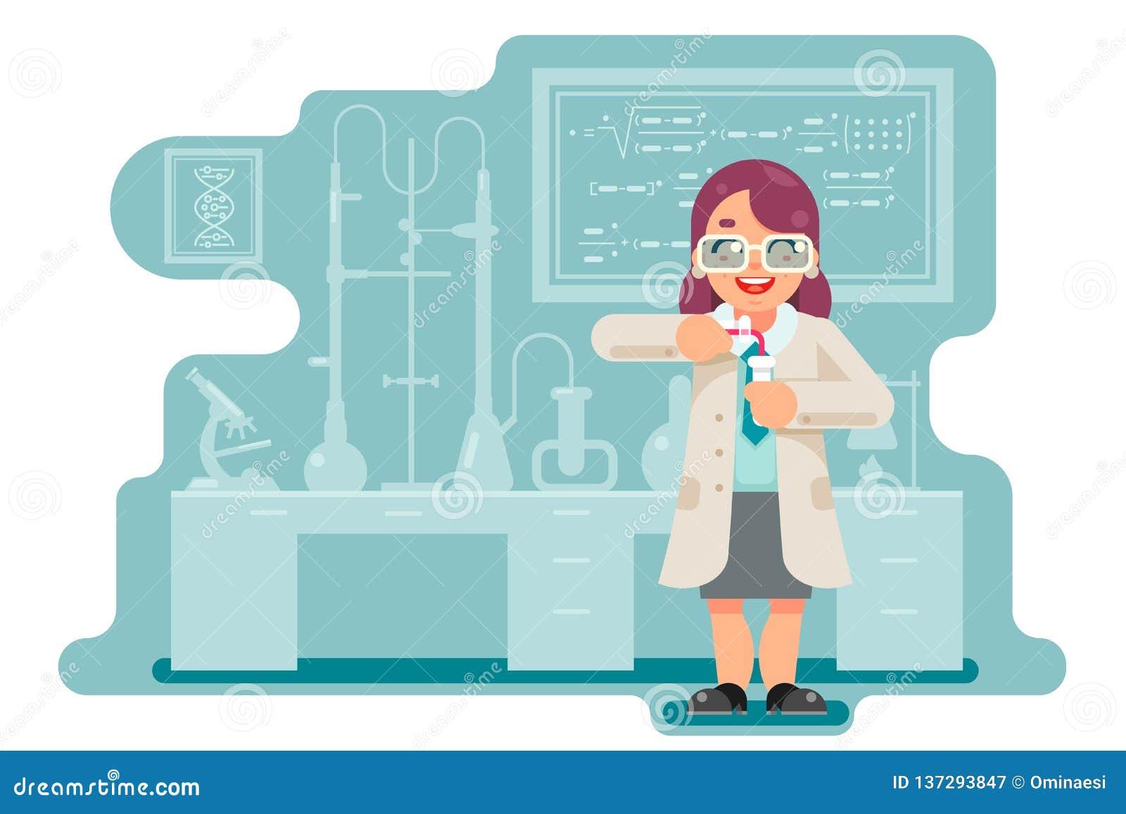 El laboratorio químico del experimento del científico elegante sabio de sexo femenino de la mujer hace una trasfusión diseño plan