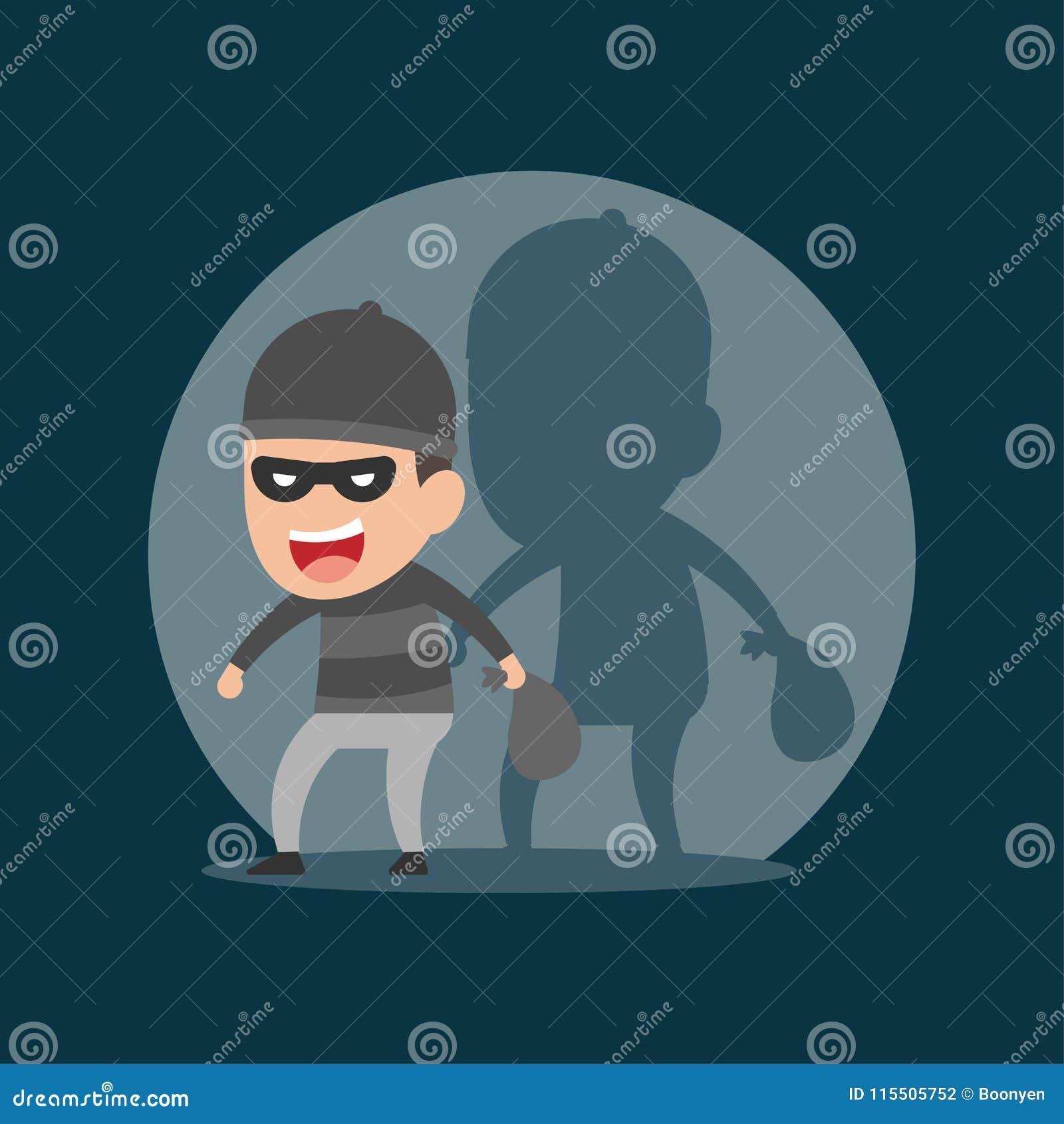 El ladrón roba en la noche, concepto criminal, ejemplo del vector