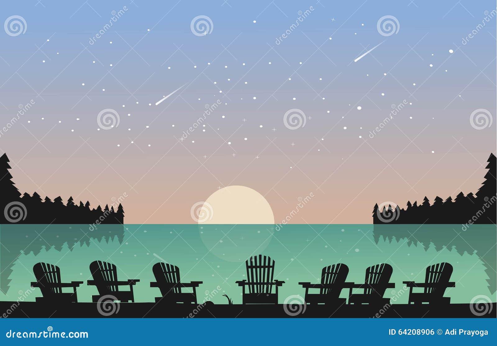 El lago hermoso con la silla ve el cielo por completo de la estrella