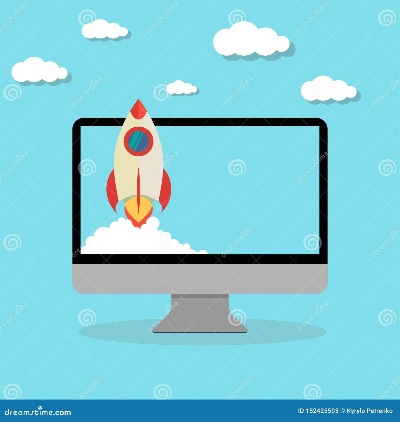 El lanzamiento de cohete comienza para arriba diseño plano del ordenador