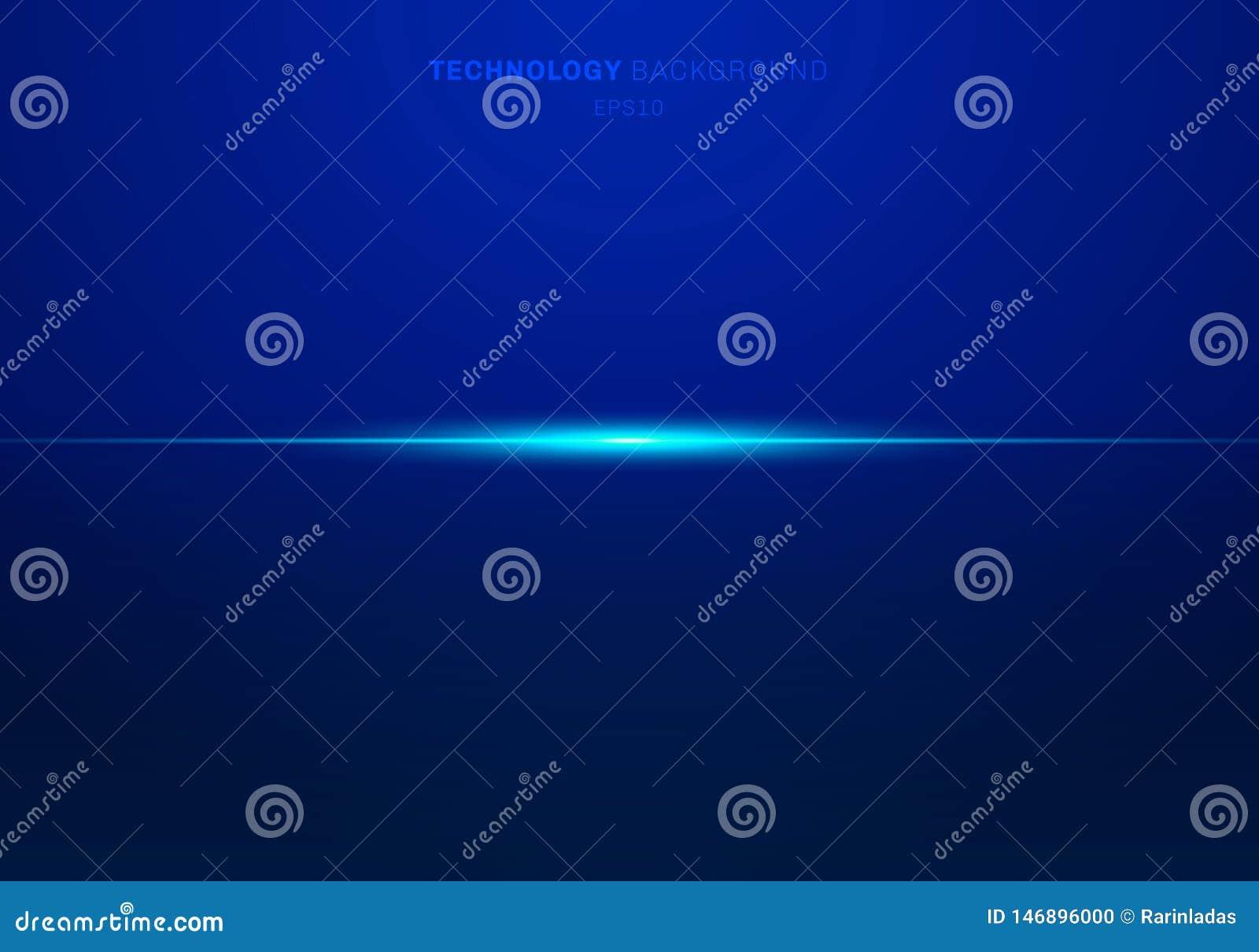 El laser ligero azul de los elementos del extracto alinea horizontal en fondo oscuro Estilo de la tecnolog?a