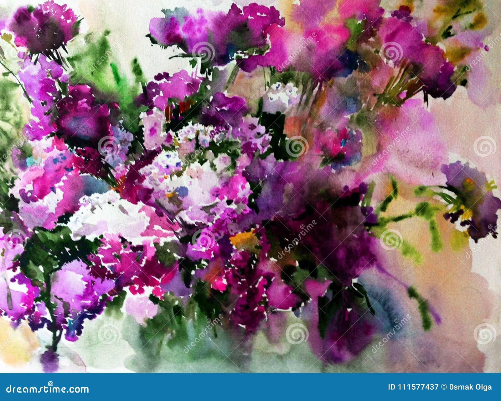 El lavado mojado del lila del fondo del extracto del arte de la acuarela de las flores salvajes del flor de la textura floral de