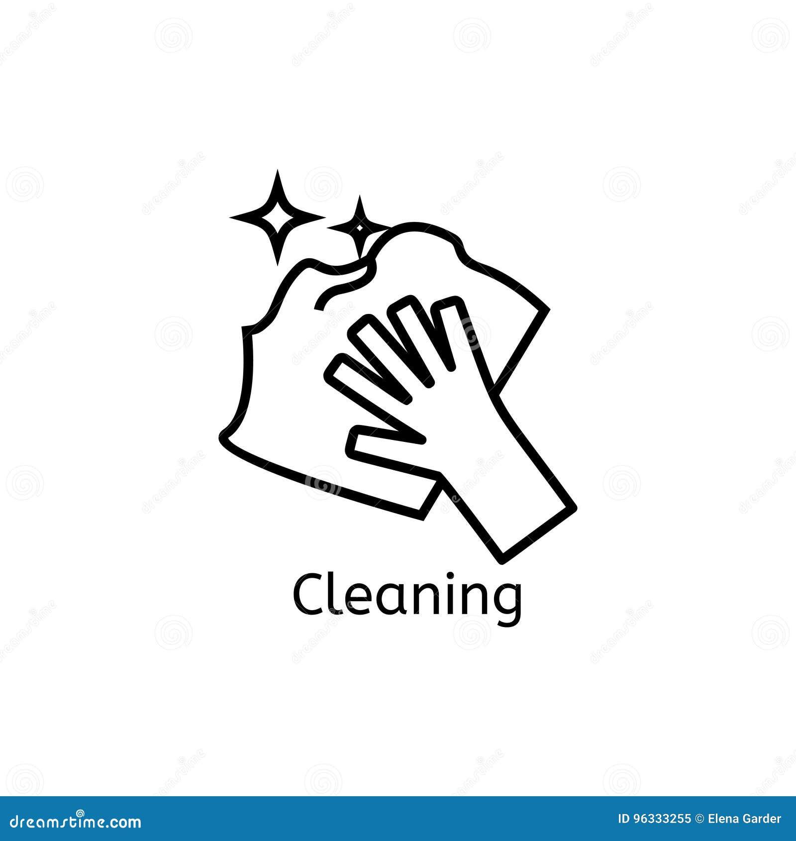 El lavarse, planchando, limpia la línea iconos del lavadero La lavadora, hierro, handwash y el otro icono clining Orden en la mue