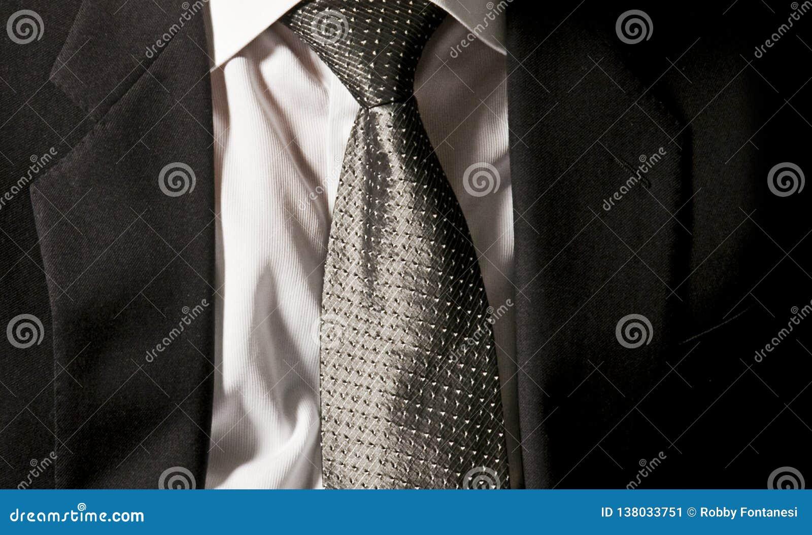 El lazo del jefe El hombre de negocios está llevando su chaqueta gris oscuro en la camisa blanca con un lazo gris elegante