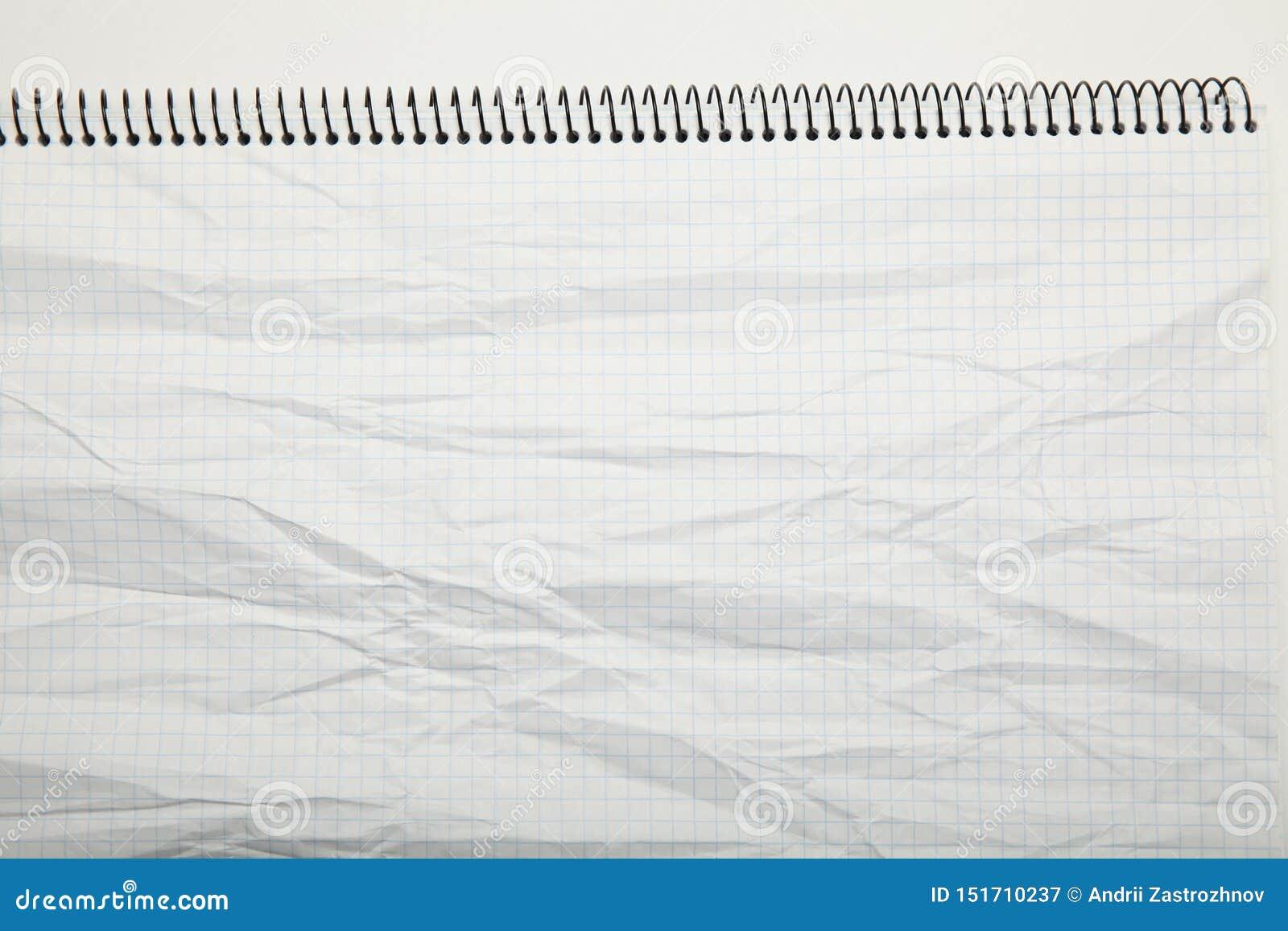El Libro Blanco arrugó la textura en una jaula, extracto fondo de la libreta