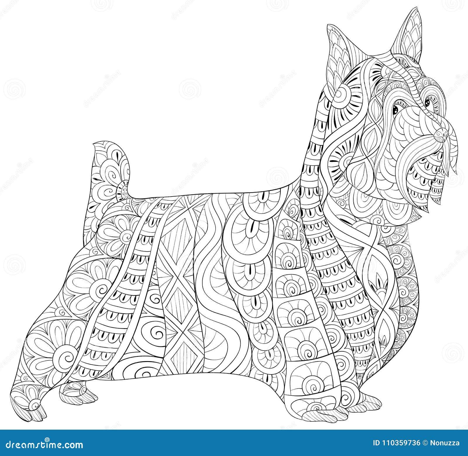 Vistoso Perro Para Colorear Libro Páginas Motivo - Enmarcado Para ...