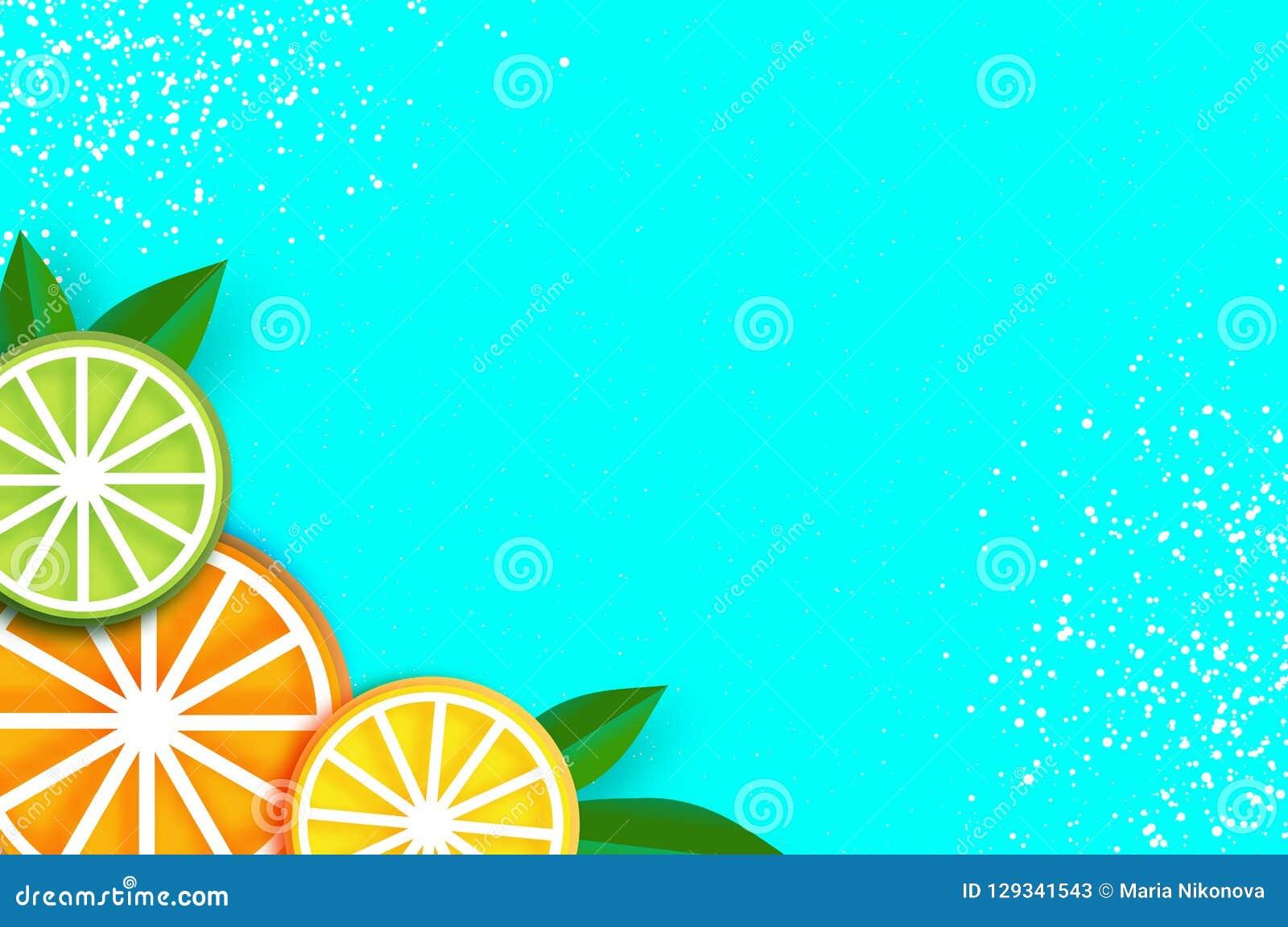 El limón, cal, anaranjada en papel cortó estilo Rebanadas maduras jugosas de la papiroflexia Hojas Comida sana en azul verano