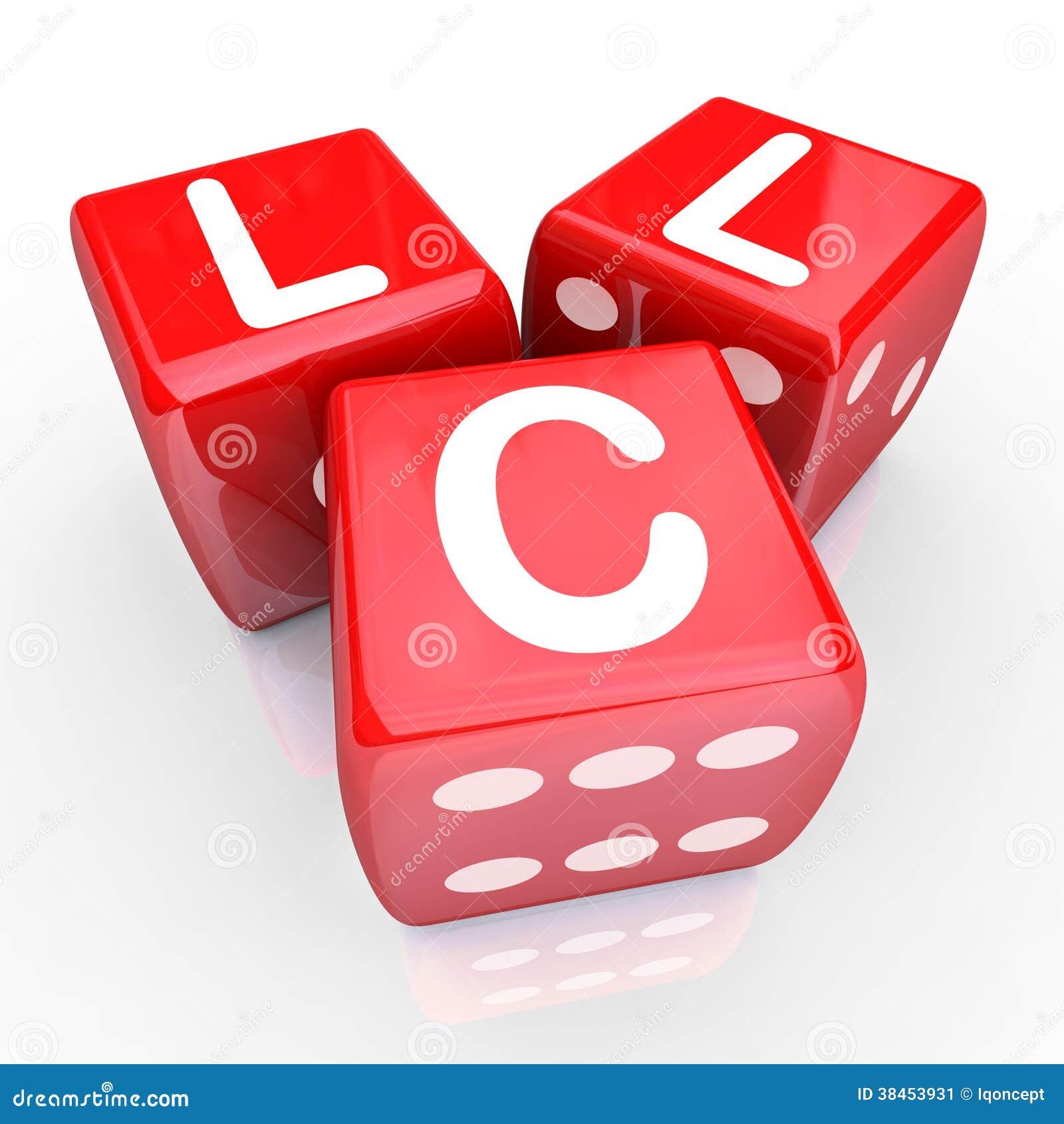 El LLC pone letras al juego rojo Bet New Business Venture Entrepren de 3 dados