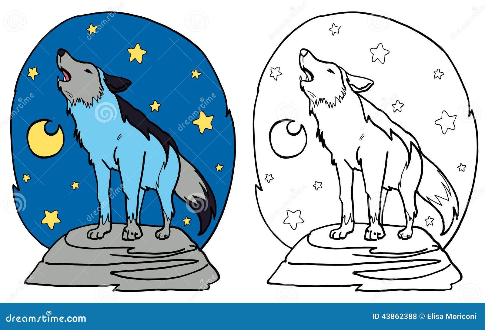 El Lobo Gris Que Grita En La Luna Stock De Ilustración Ilustración