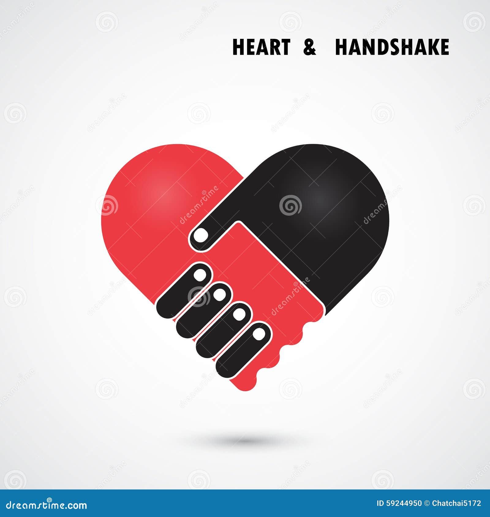 El logotipo abstracto creativo del vector del apretón de manos y del corazón diseña