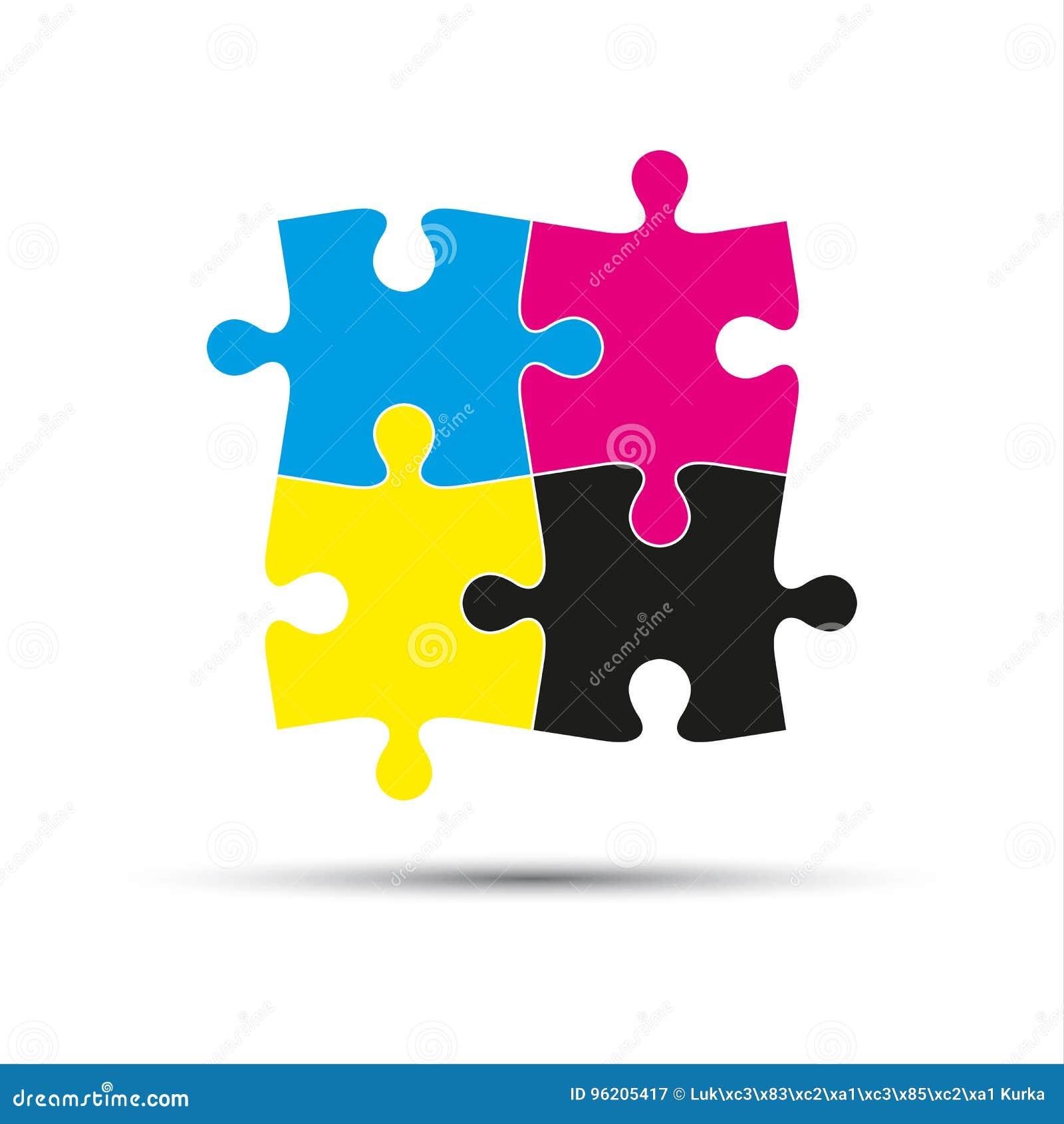 El logotipo abstracto del vector, cuatro desconcierta pedazos en colores del cmyk