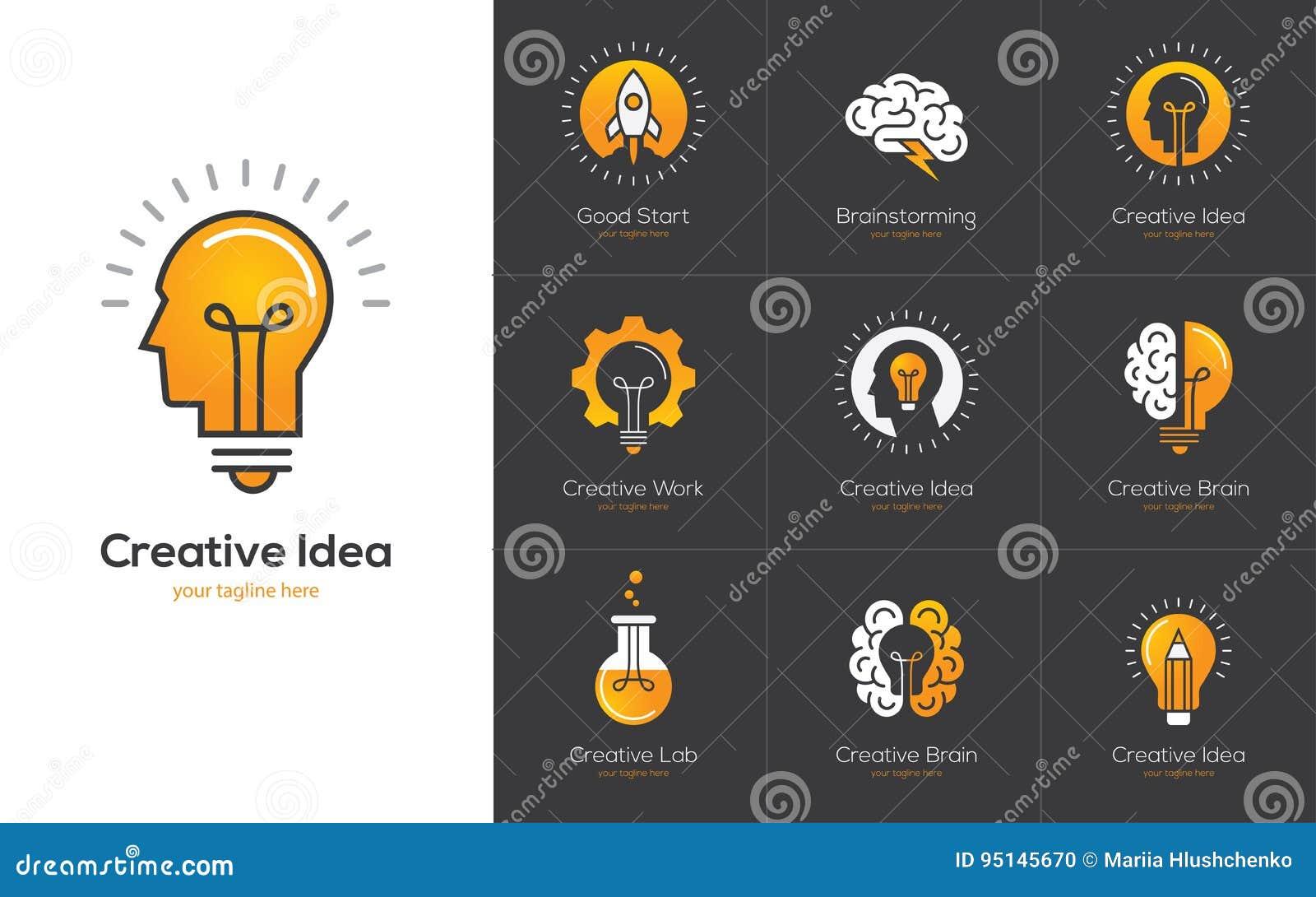 El logotipo creativo de la idea fijó con la cabeza humana, cerebro, bombilla