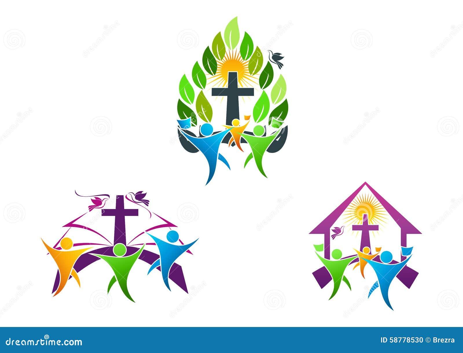 El logotipo cristiano de la iglesia de la gente, la biblia, la paloma y el símbolo religioso del icono de la familia diseñan