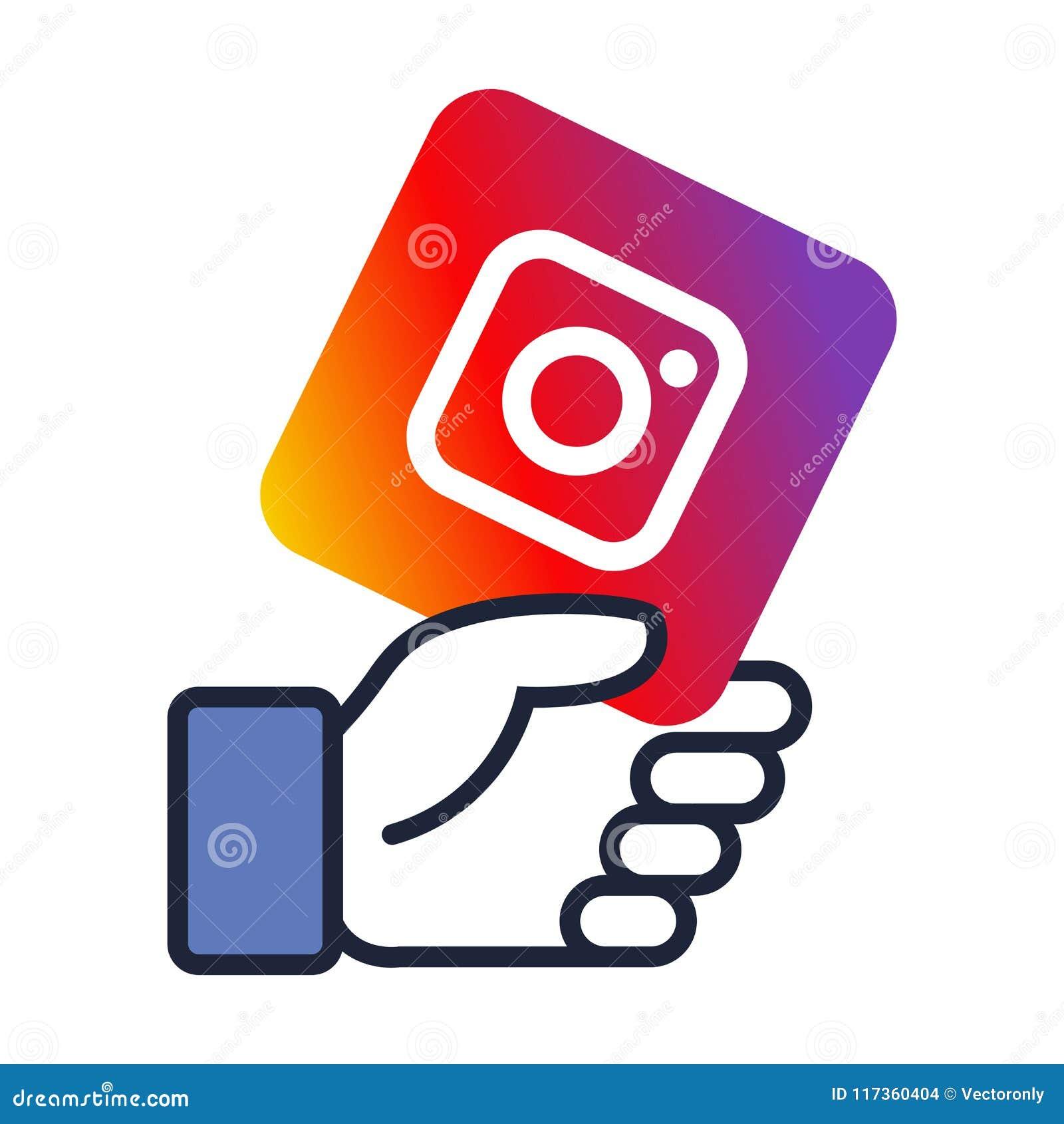 El logotipo de Instagram en facebook le gusta la mano