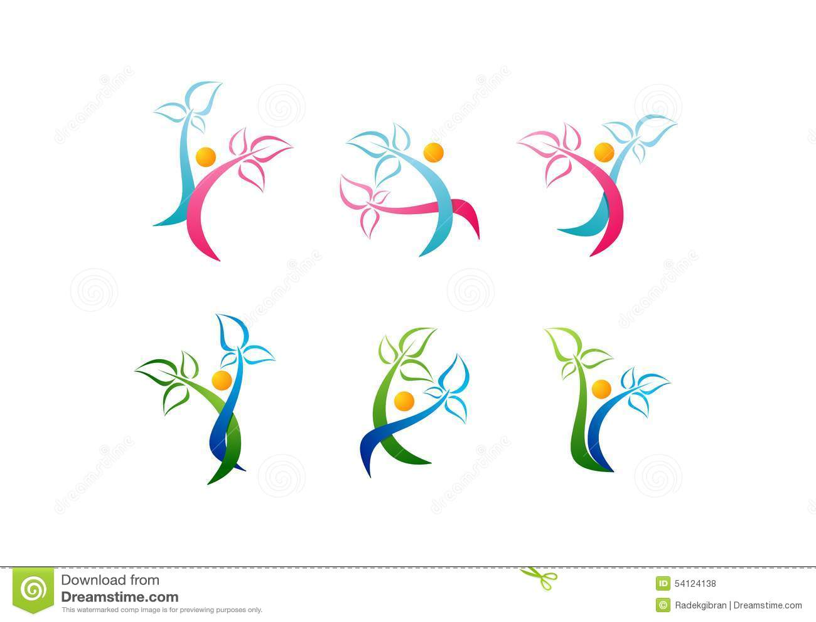 El logotipo de la salud, símbolo de la belleza del cuidado, salud del icono del balneario, planta, vector determinado de la gente