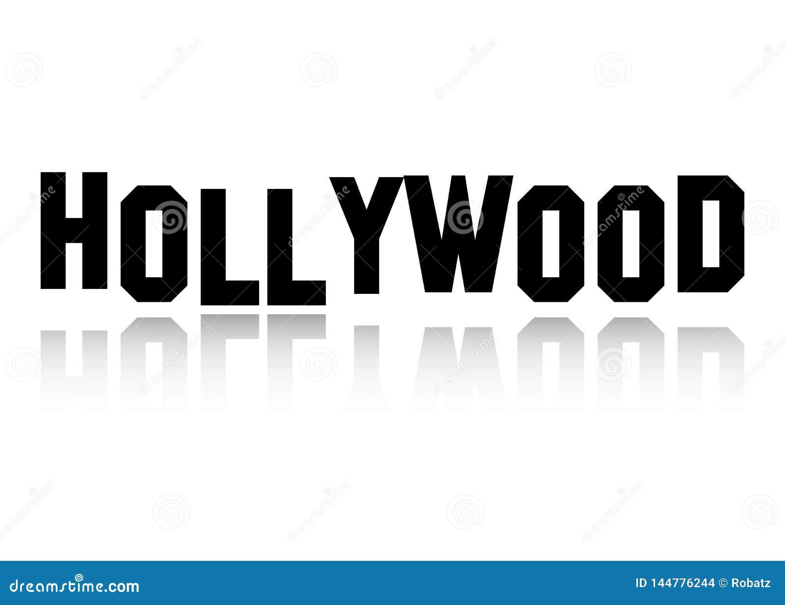 El logotipo del vector de Hollywood, las letras negras aisló o el fondo blanco
