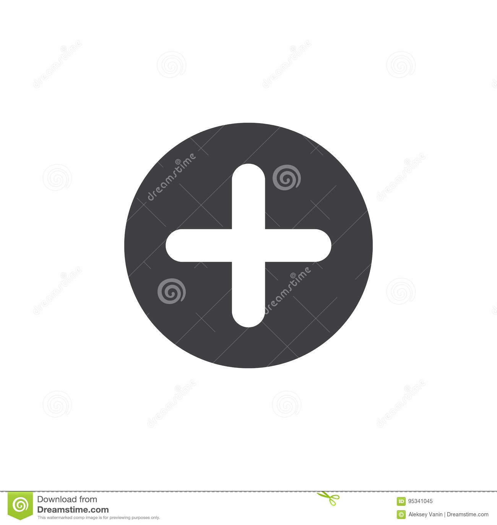 El más, añade el icono plano Botón simple redondo cruzado, muestra circular del vector