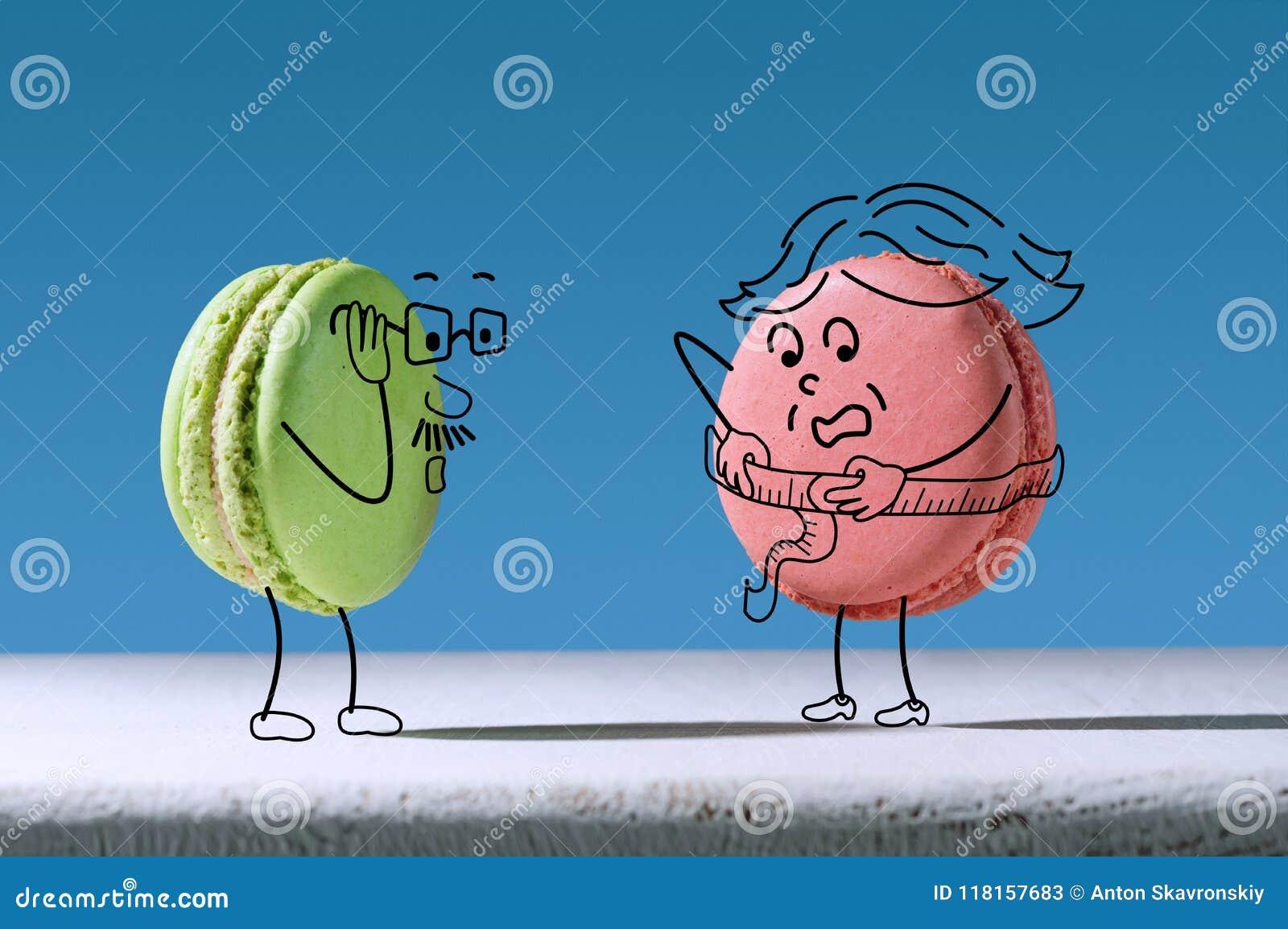 El macaron divertido mide tamaño de la cintura