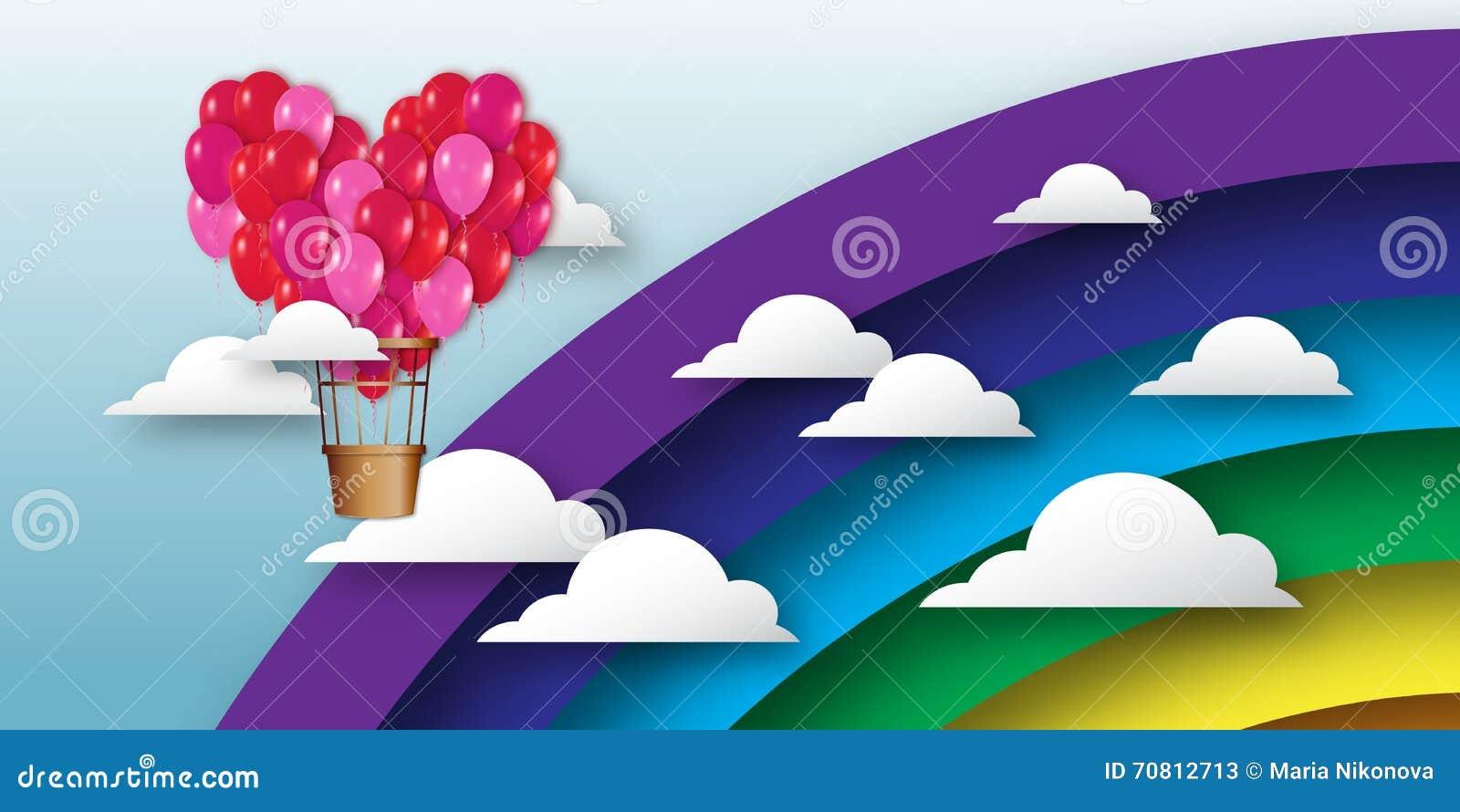 El manojo realista del corazón 3d de globos del aire caliente vuela al cielo